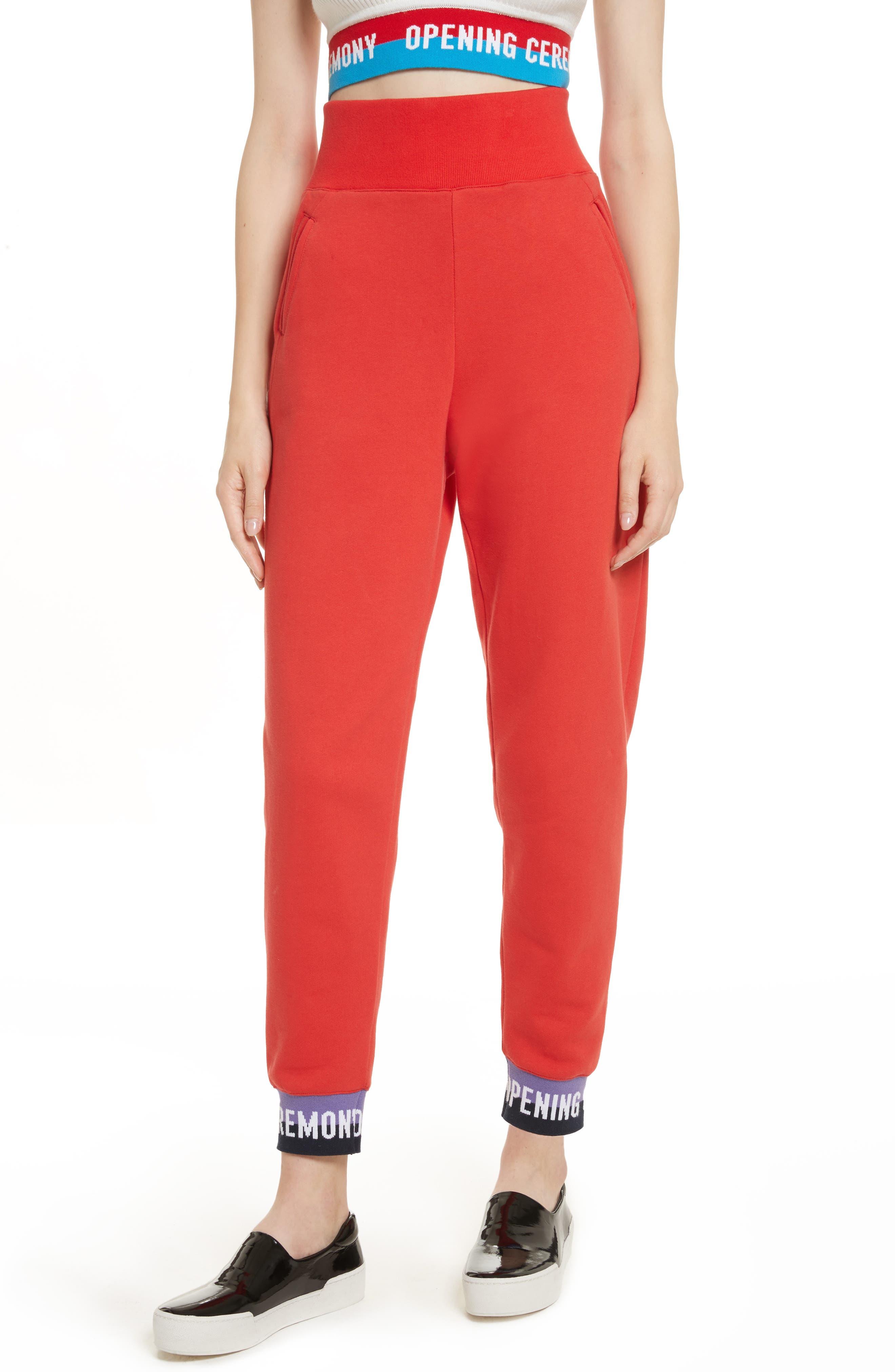 Elastic Logo Sweatpants,                         Main,                         color, Red