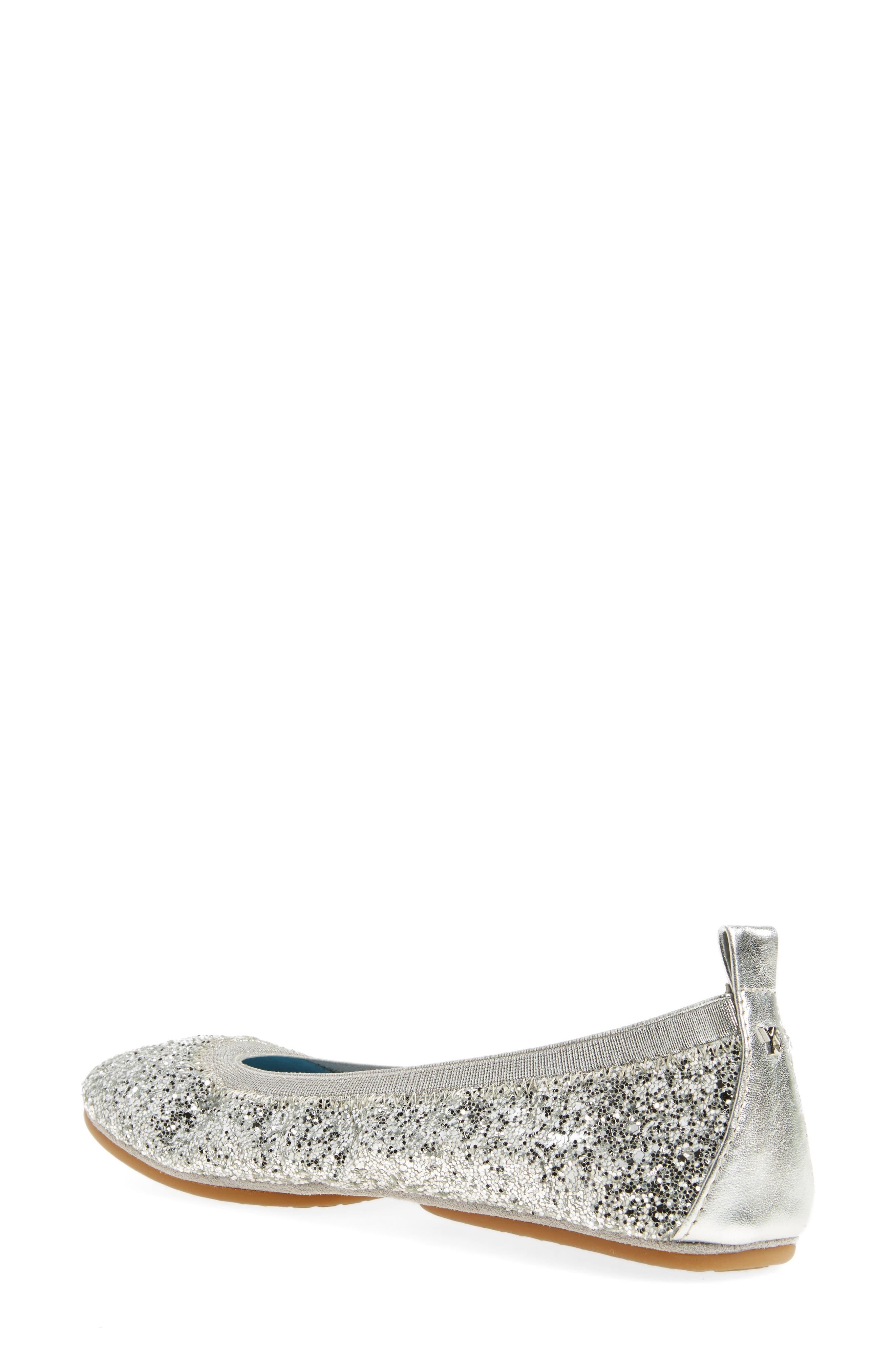 Serna Foldable Glitter Ballet Flat,                             Alternate thumbnail 2, color,                             Platinum Glitter