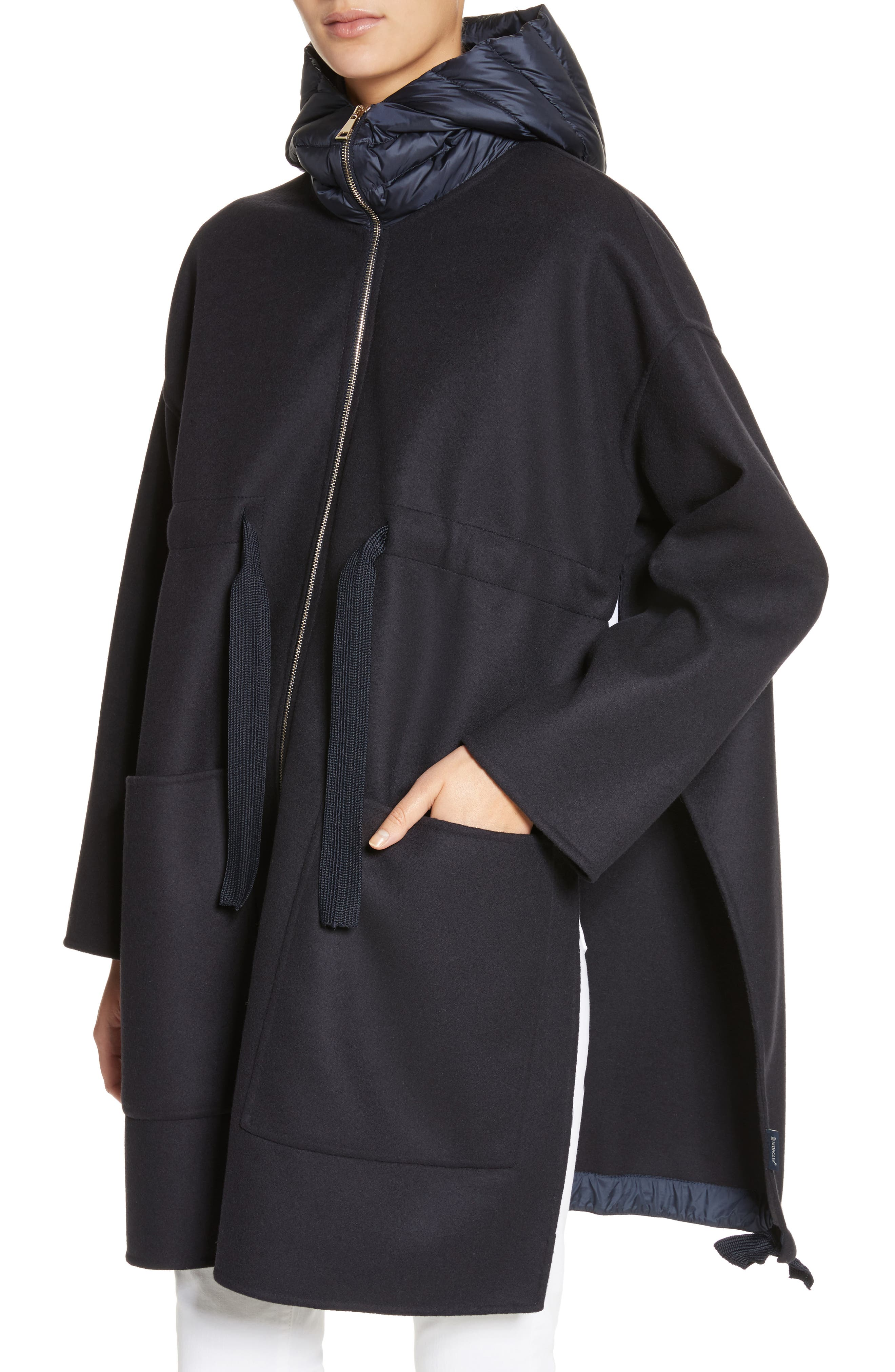Grenat Wool & Cashmere Hooded Jacket,                             Alternate thumbnail 4, color,                             Navy