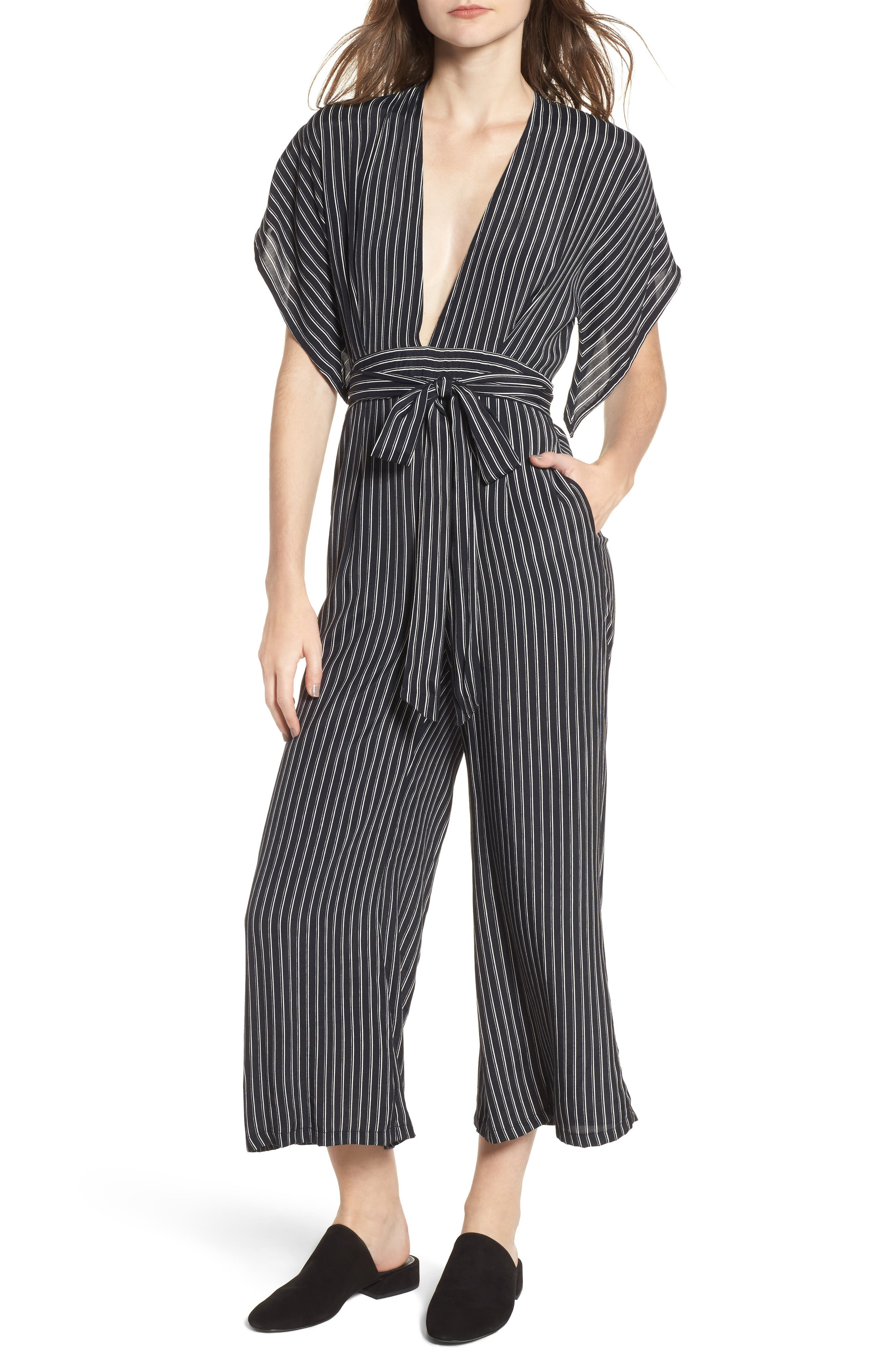 Cedric Plunging Pinstripe Jumpsuit,                         Main,                         color, San Cristobal Stripe Print