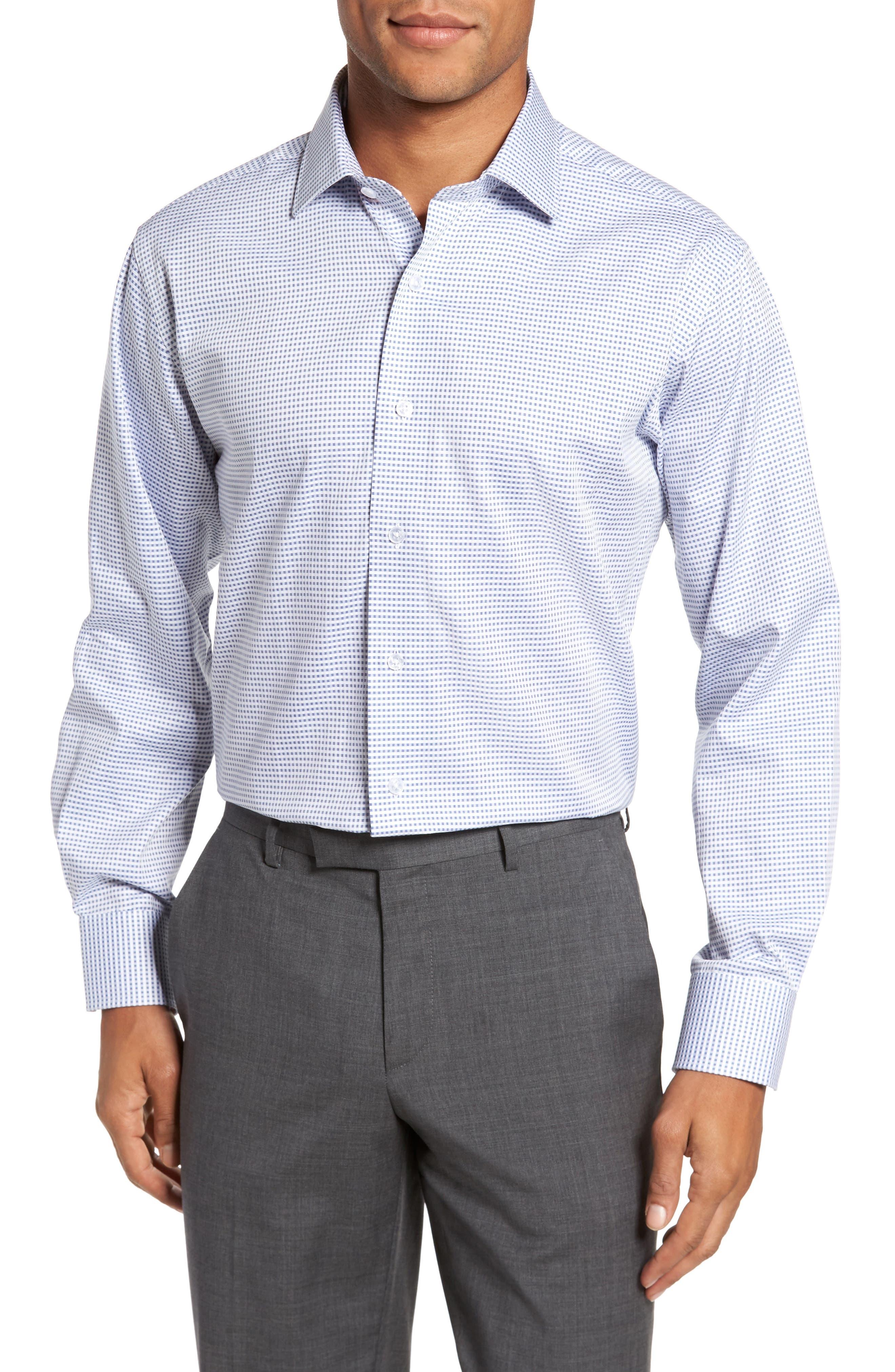 Trim Fit Check Dress Shirt,                         Main,                         color, Medium Blue