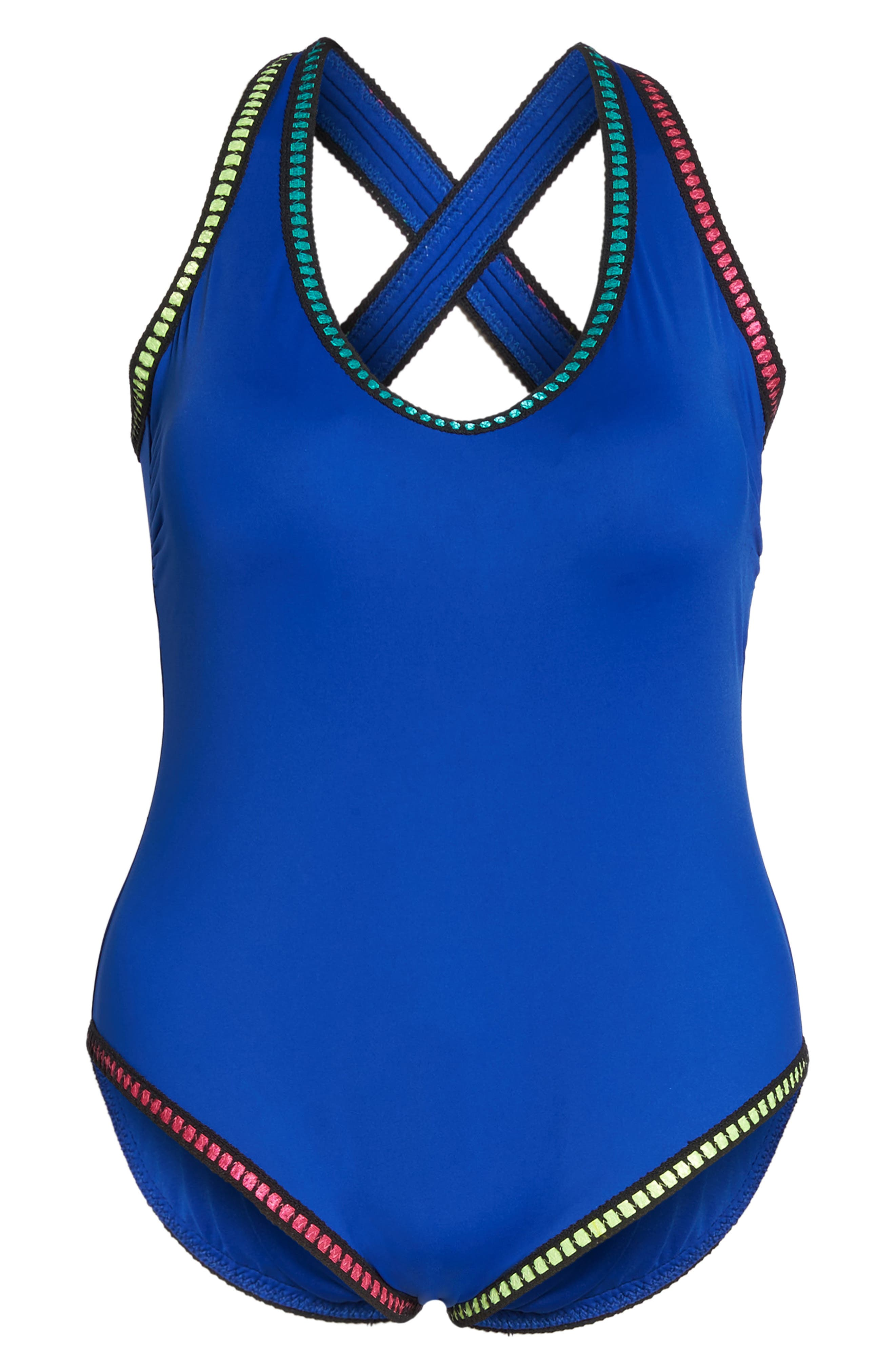 Threading Crossback One-Piece Swimsuit,                             Alternate thumbnail 6, color,                             Apollo Blue