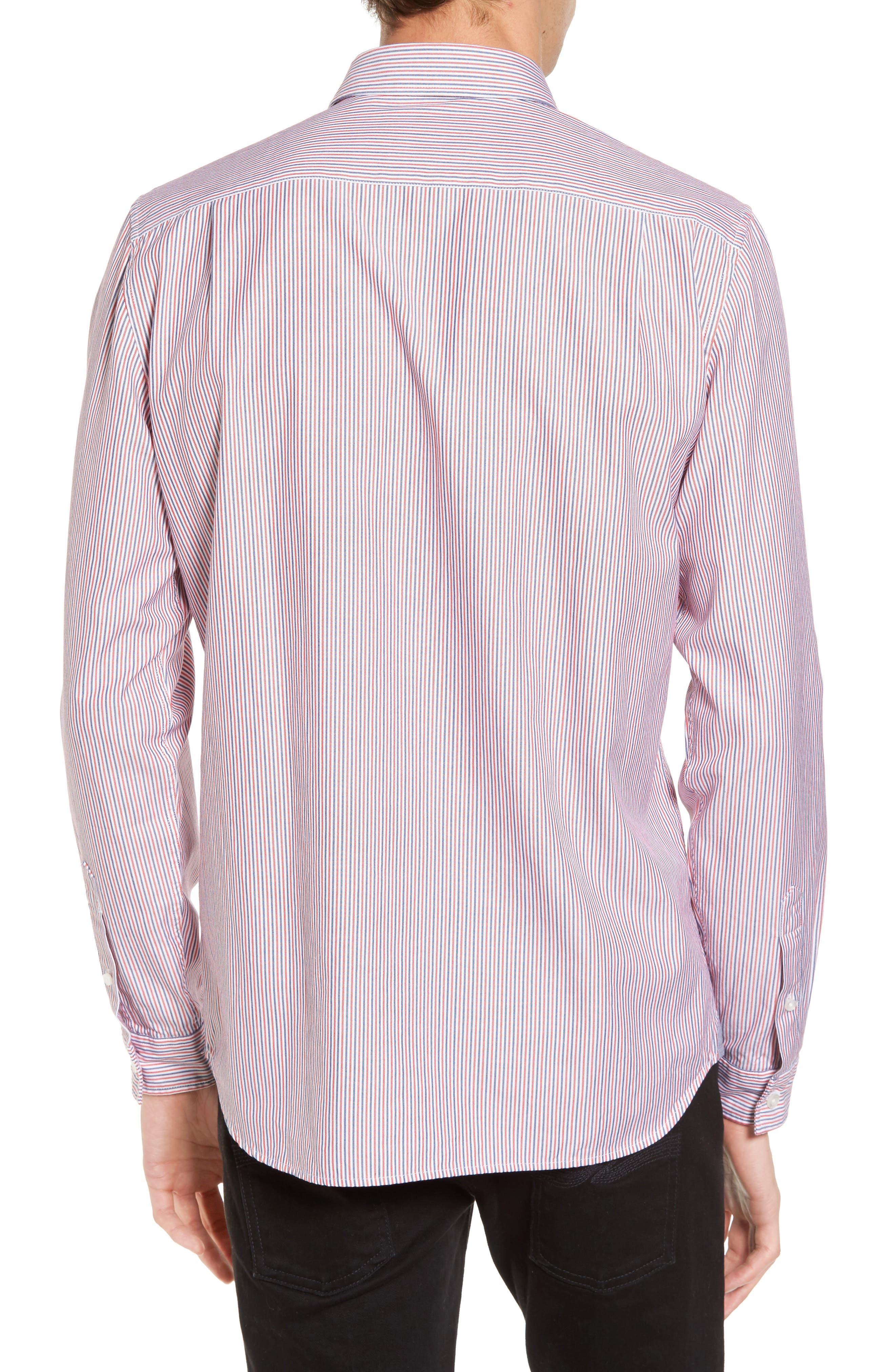 Button-Down Sport Shirt,                             Alternate thumbnail 2, color,                             Cherry Red/ Methylene-White