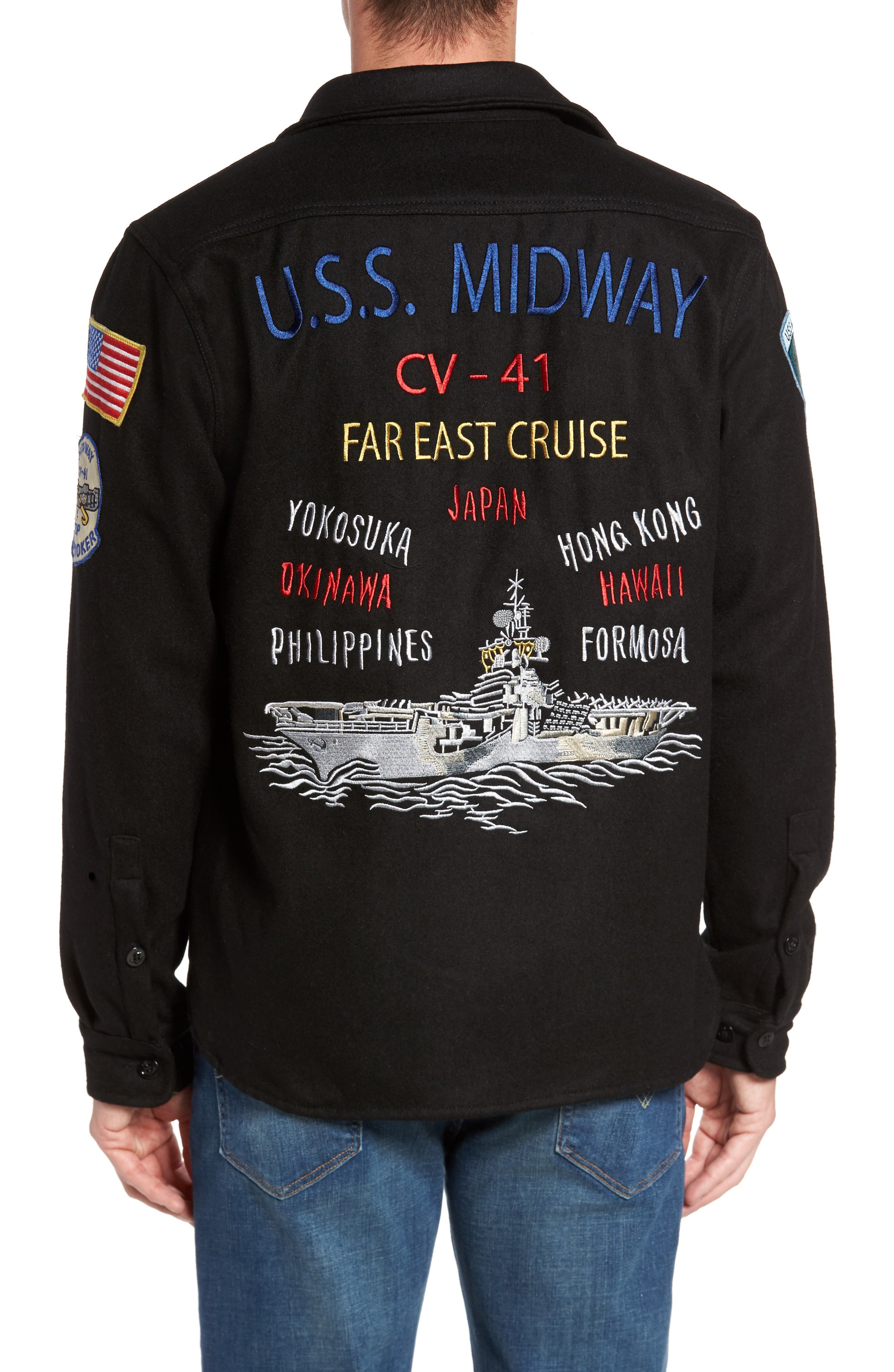Embroidered Patch Wool Blend Jacket,                             Alternate thumbnail 2, color,                             Black