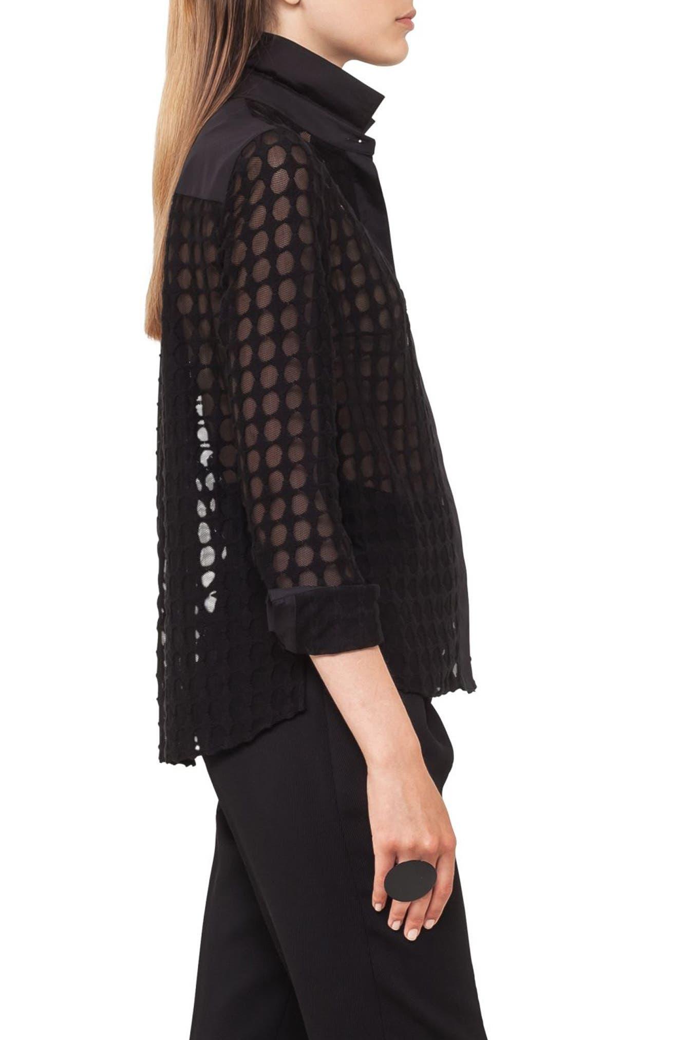 Kent Collar Dot Lace Blouse,                             Alternate thumbnail 2, color,                             Black