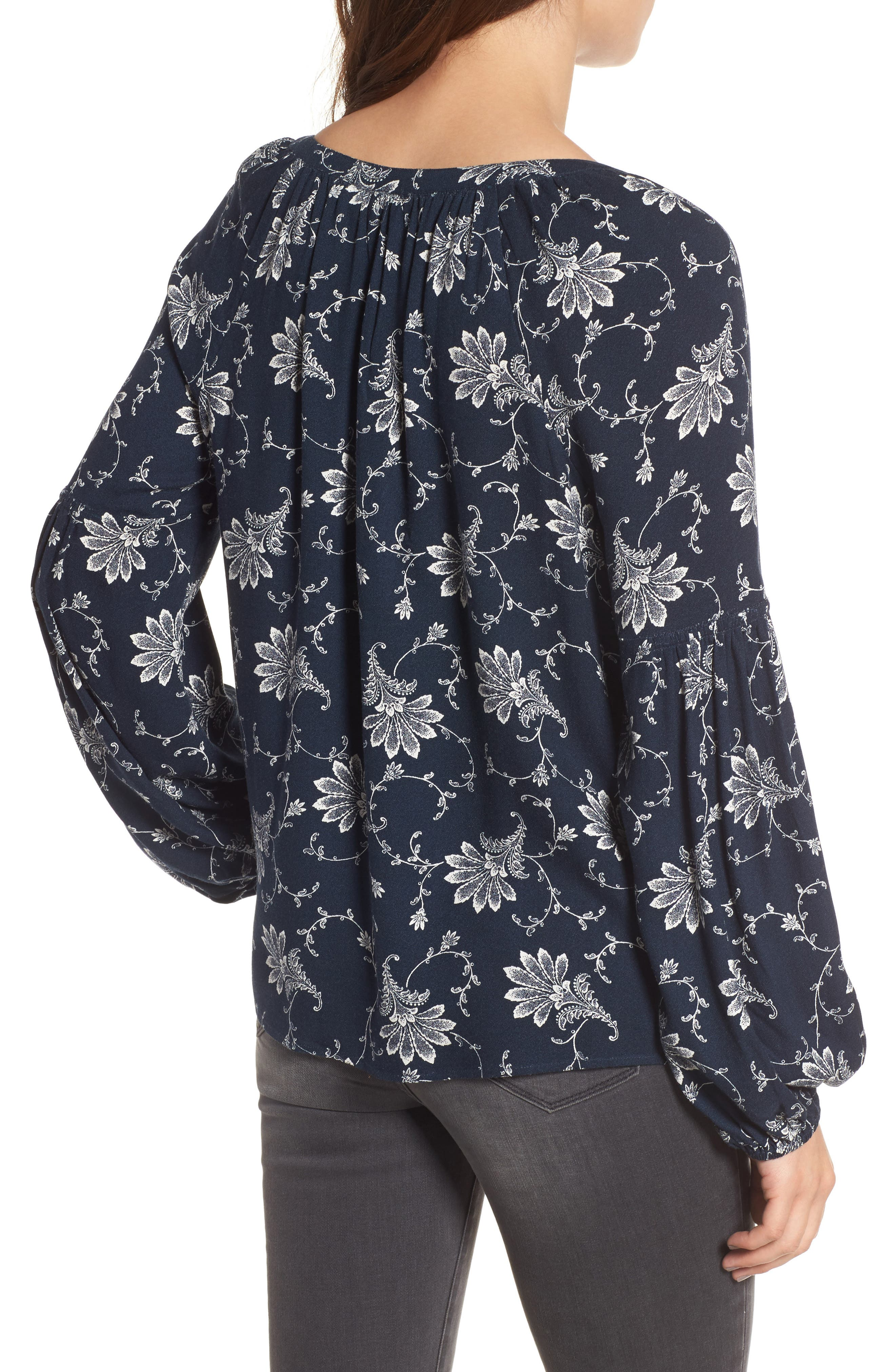 Blouson Sleeve Top,                             Alternate thumbnail 2, color,                             Navy Blazer Pretty Decor