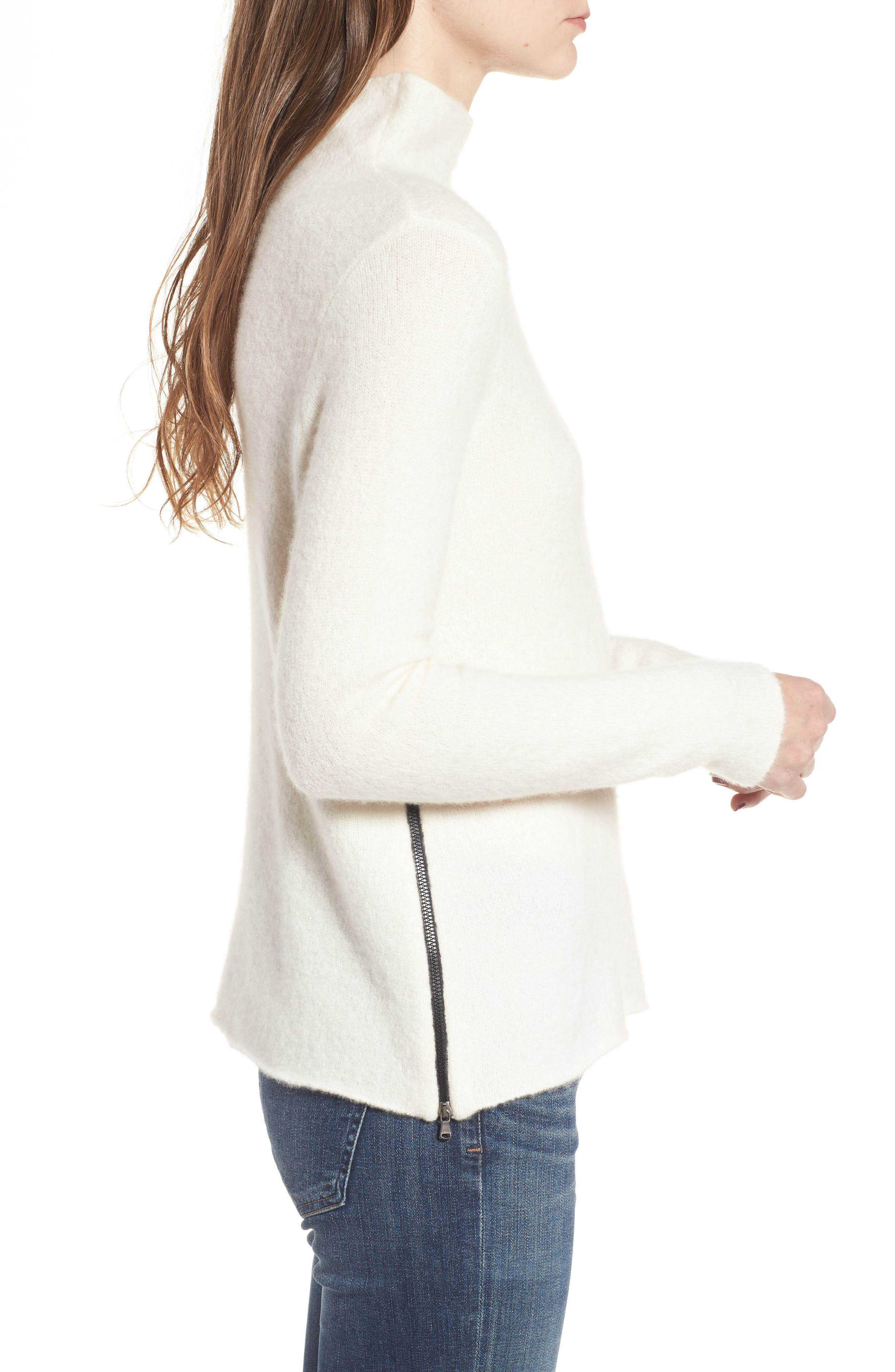 Stretch Cashmere Mock Neck Sweater,                             Alternate thumbnail 3, color,                             Ivory