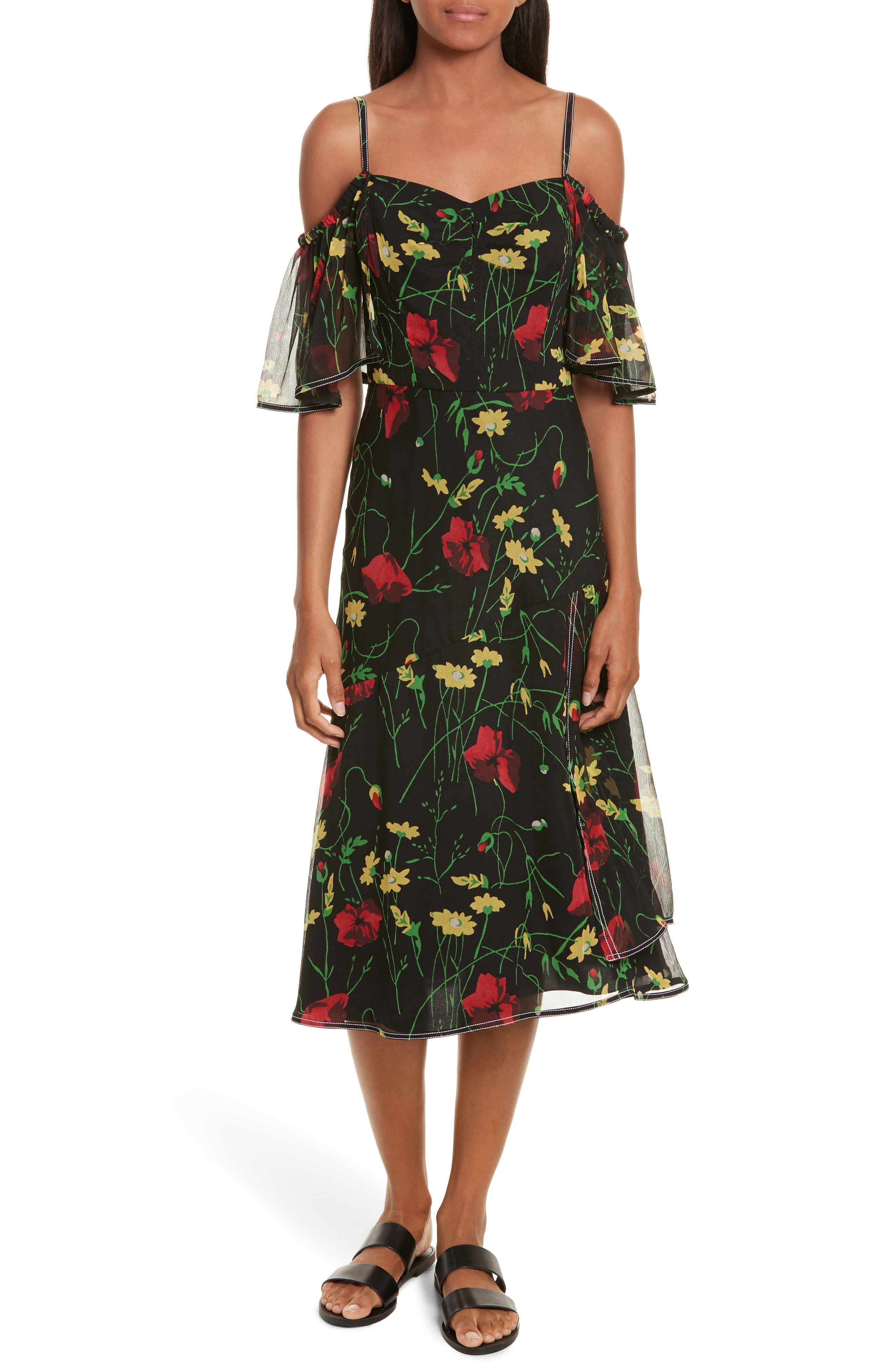 Print Chiffon Off the Shoulder Dress,                         Main,                         color, Black Multi