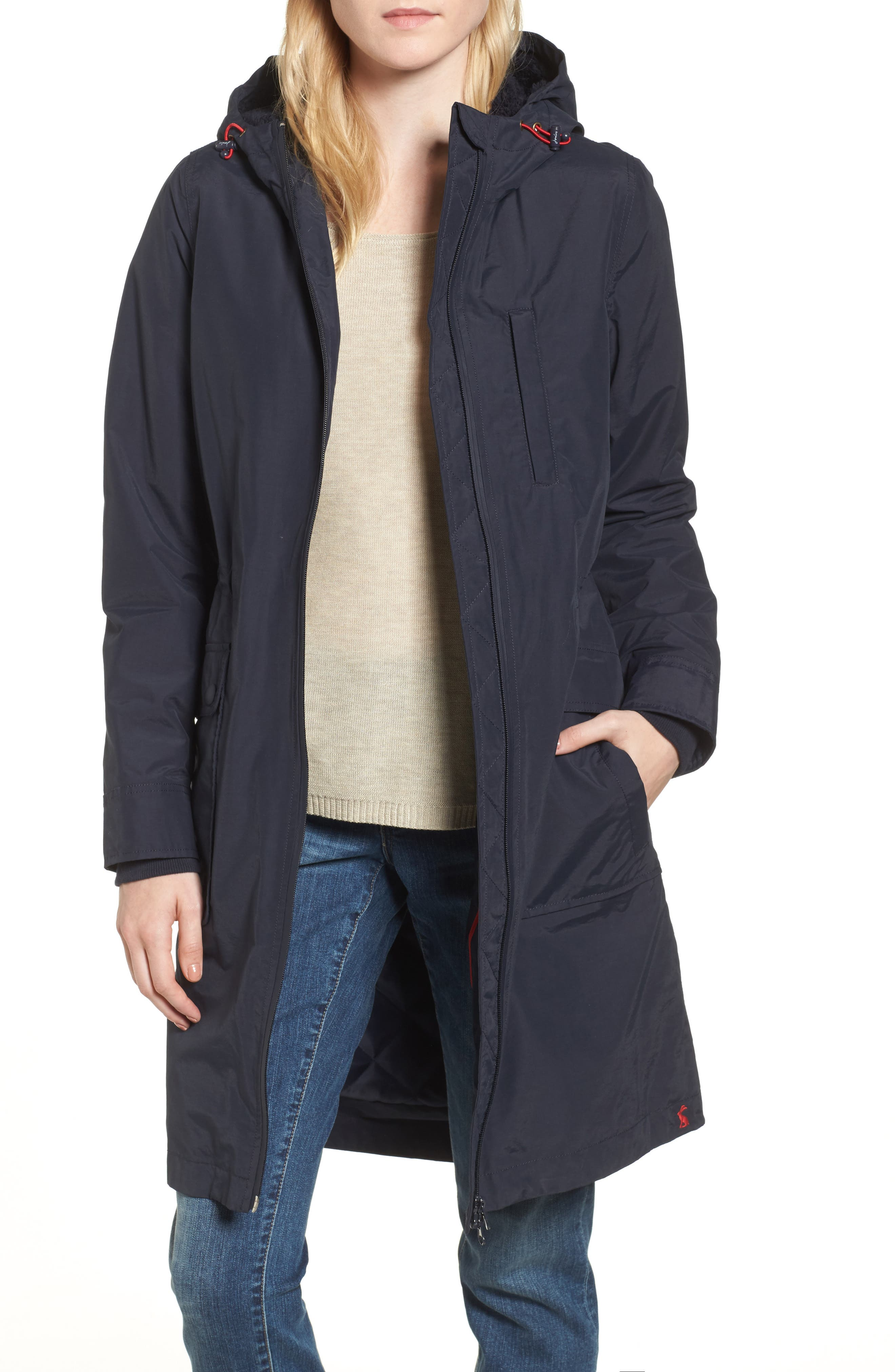 Hooded Fleece Lined Raincoat,                         Main,                         color, Marine Navy