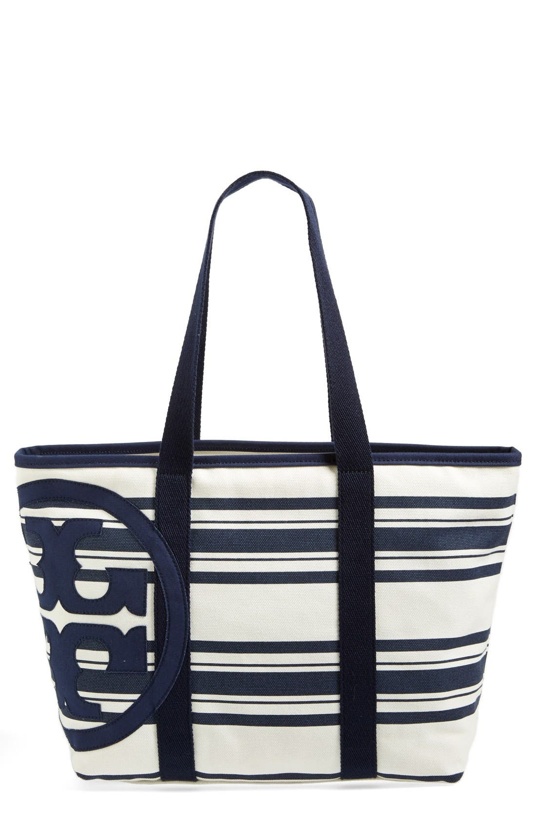 Small Canvas Stripe Tote,                             Main thumbnail 1, color,                             Tory Navy Awning Stripe