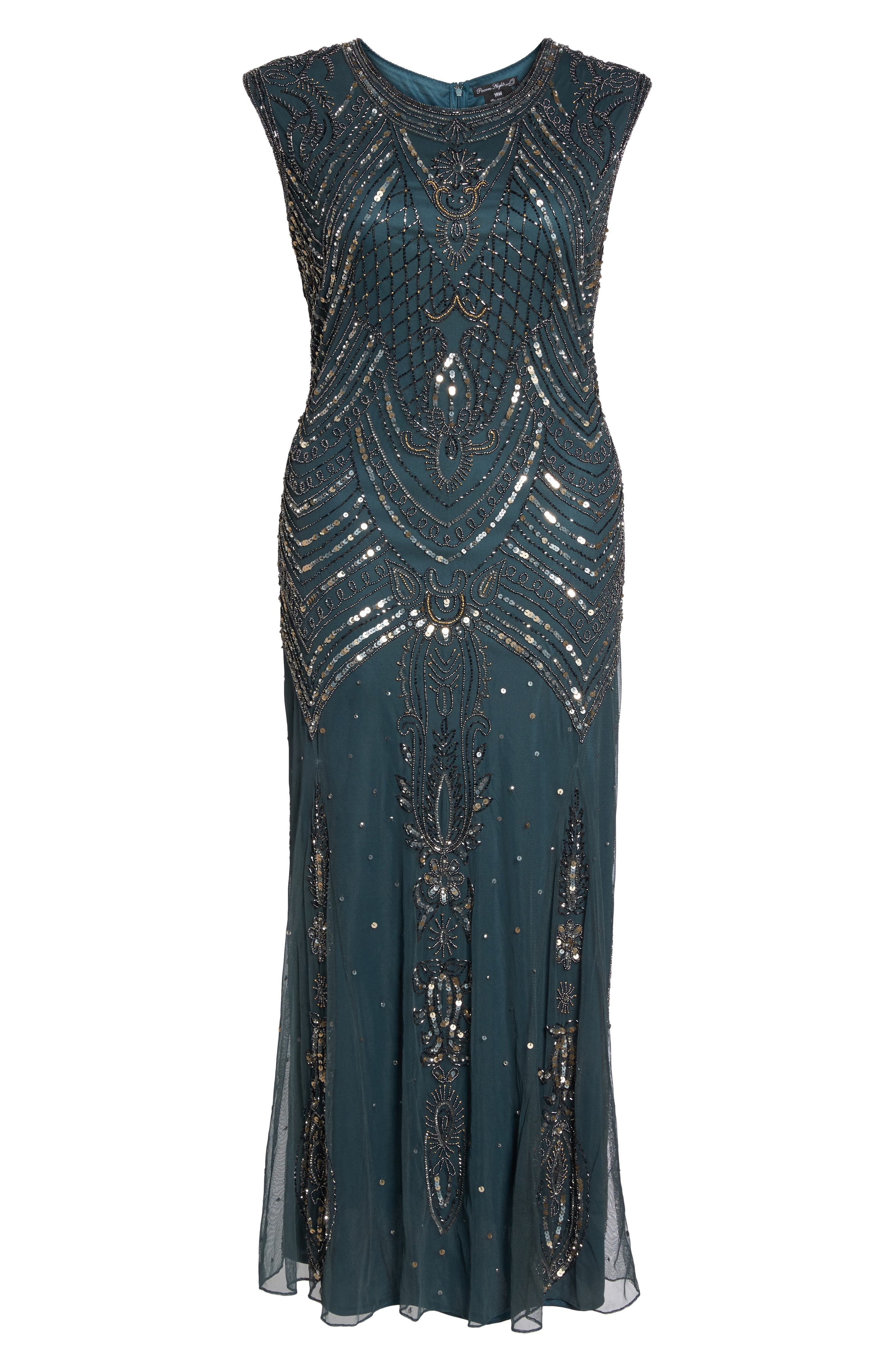 Alternate Image 6  - Pisarro Nights Beaded Mesh Gown (Plus Size)