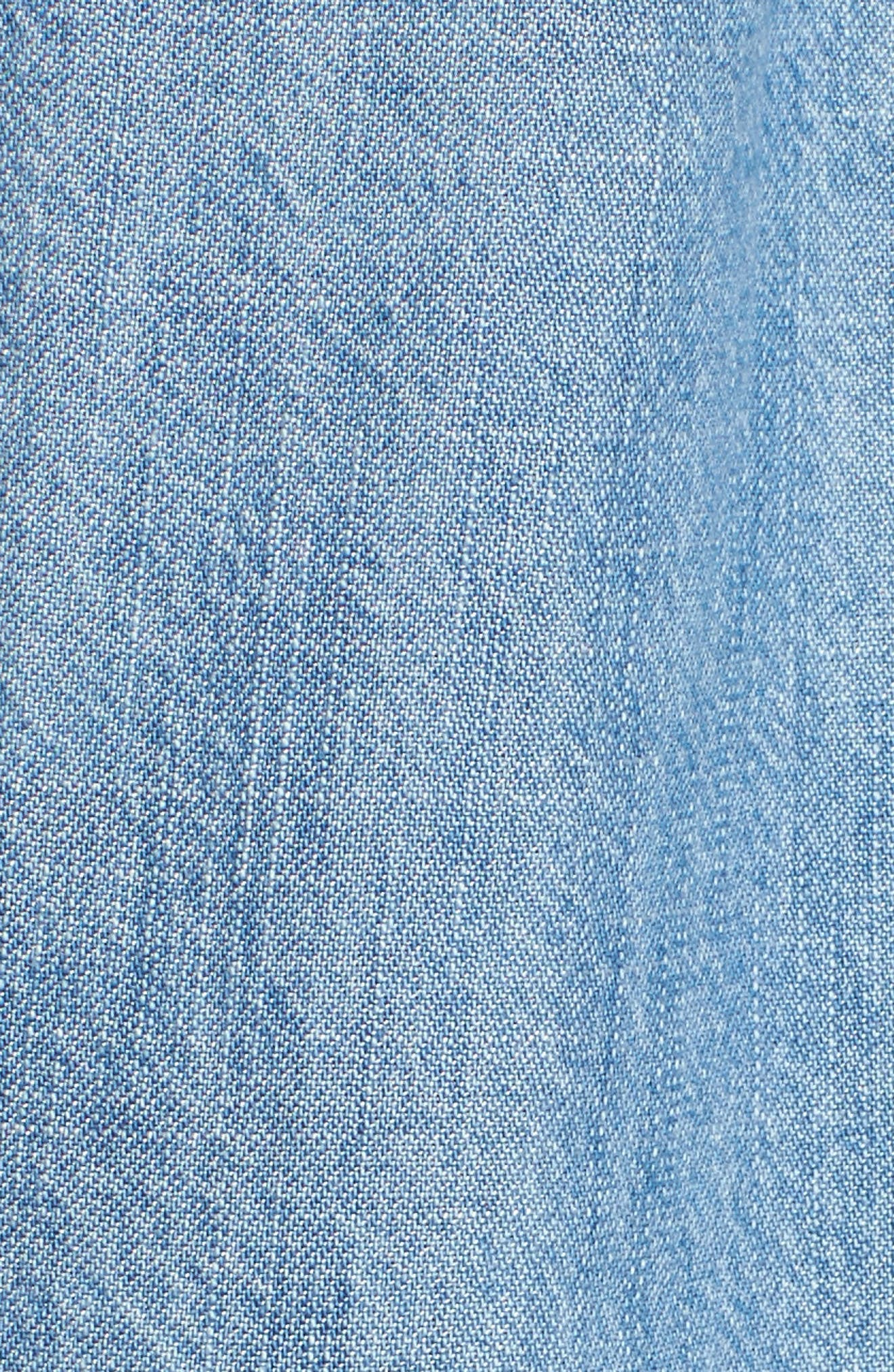 Button Front Chambray Shirt,                             Alternate thumbnail 5, color,                             Chambray