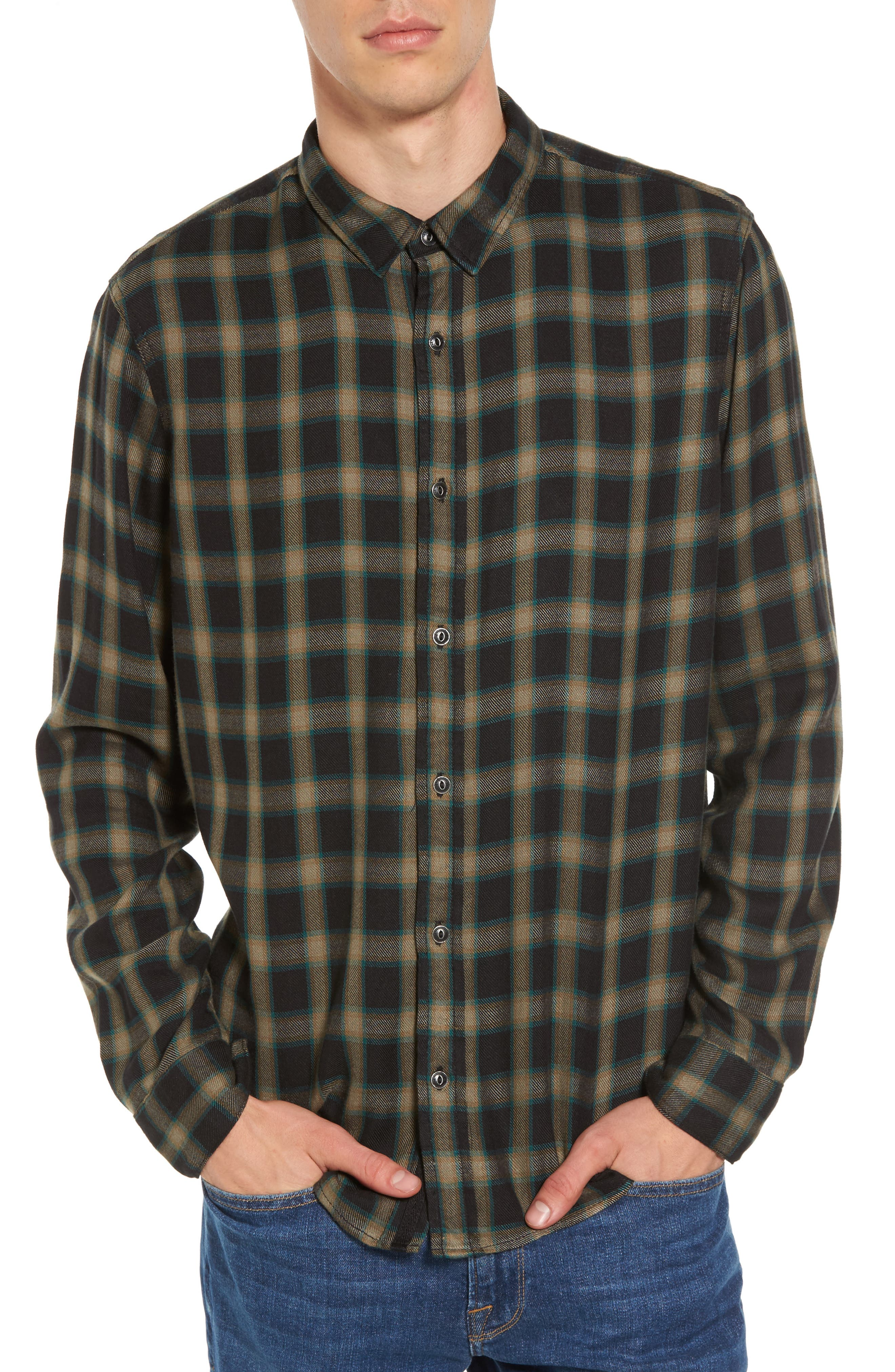 Virgil Plaid Sport Shirt,                             Main thumbnail 1, color,                             Black Rock Green Edocha Plaid