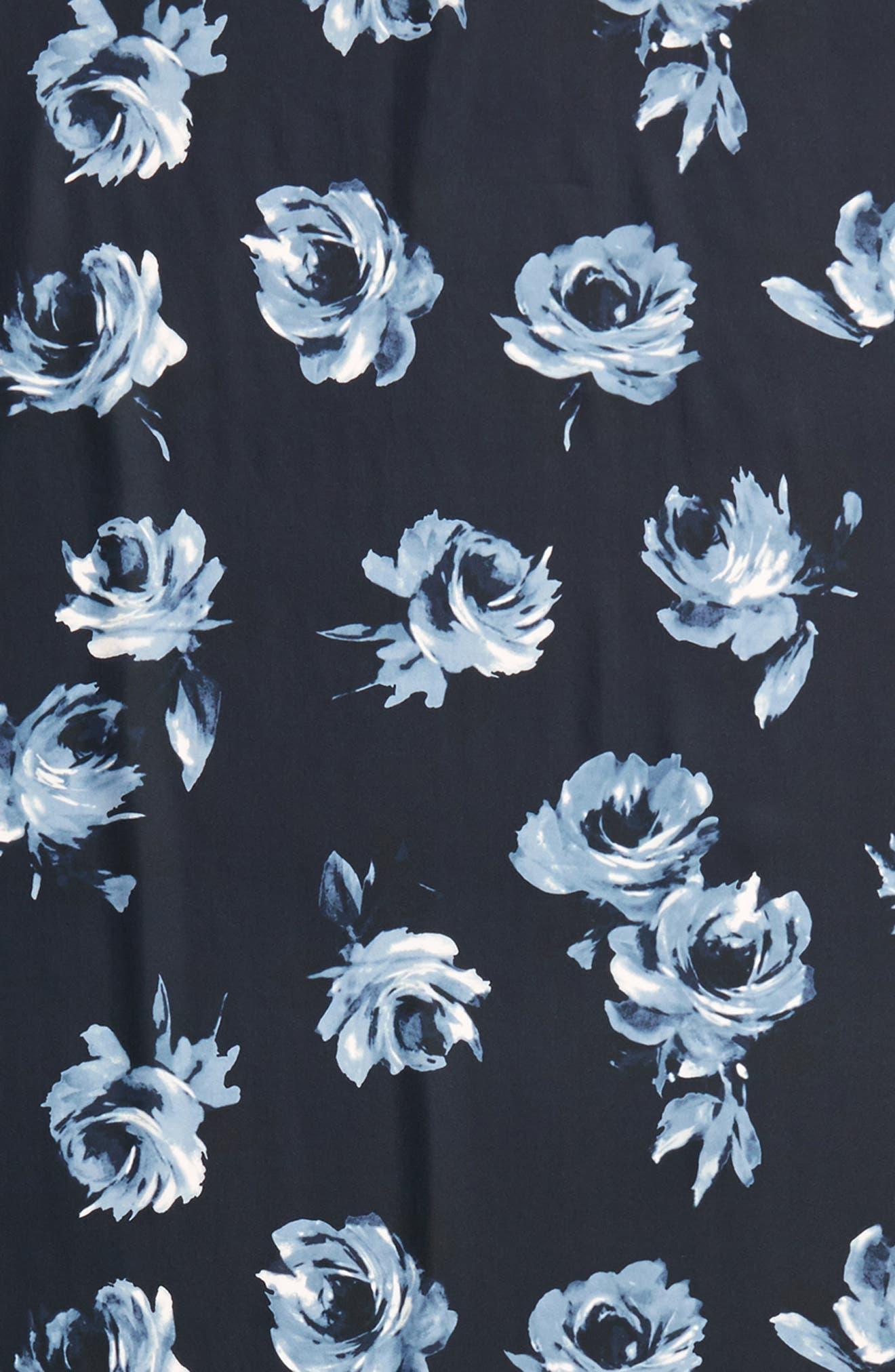 night rose silk oblong scarf,                             Alternate thumbnail 4, color,                             Rich Navy