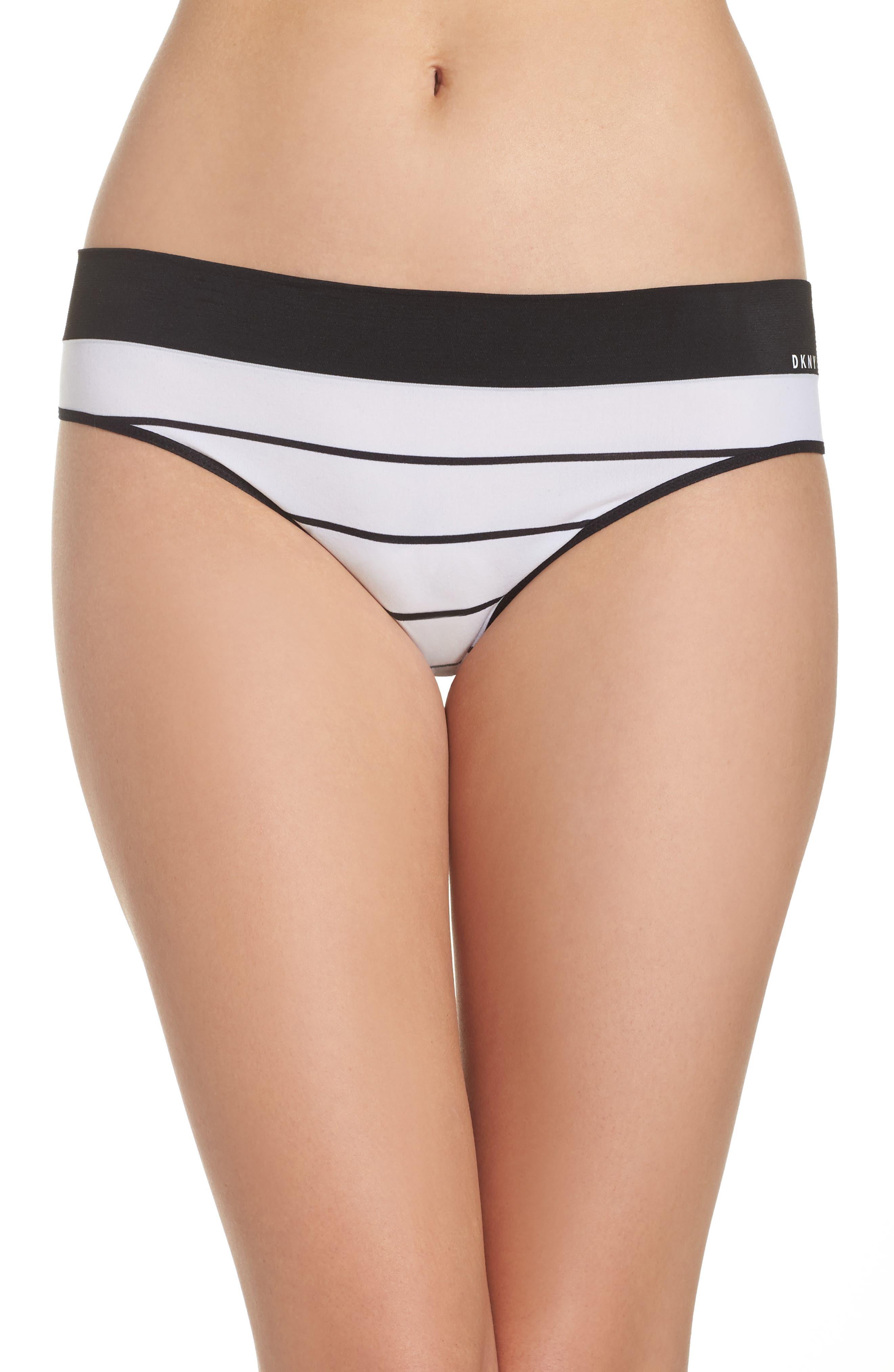 LiteWear Seamless Thong,                         Main,                         color, Poplin Stripe