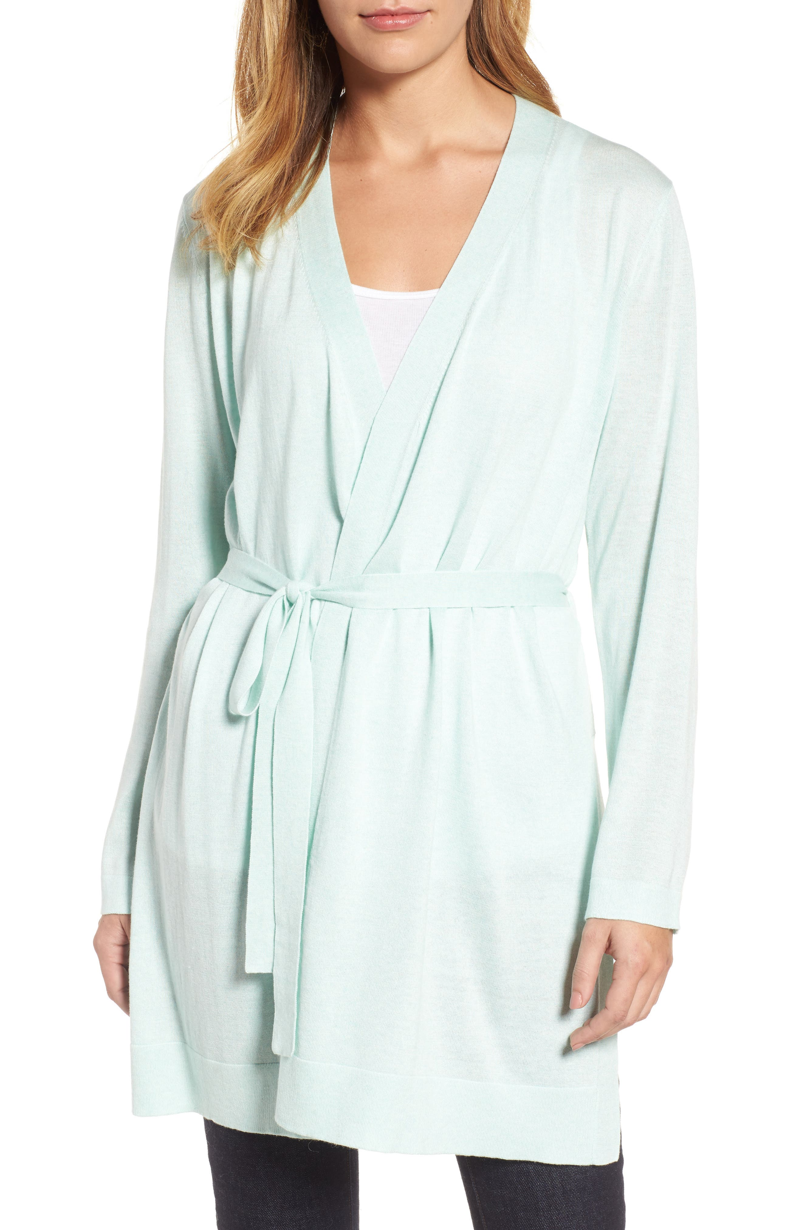 Main Image - Eileen Fisher Tie Waist Tencel® Lyocell Blend Cardigan (Regular & Petite)