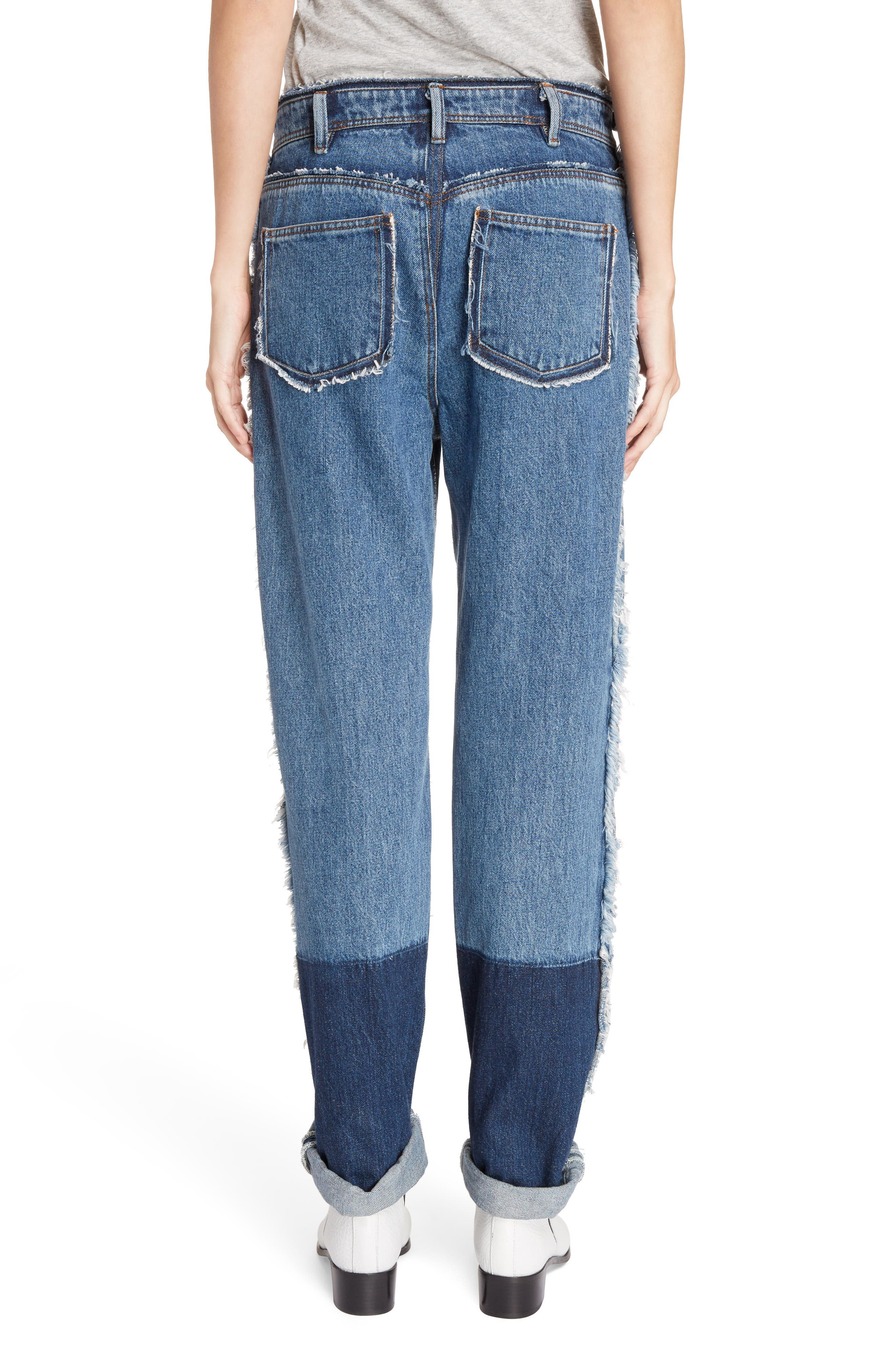 Mirja Frayed High Waist Straight Leg Jeans,                             Alternate thumbnail 3, color,                             Indigo Blue