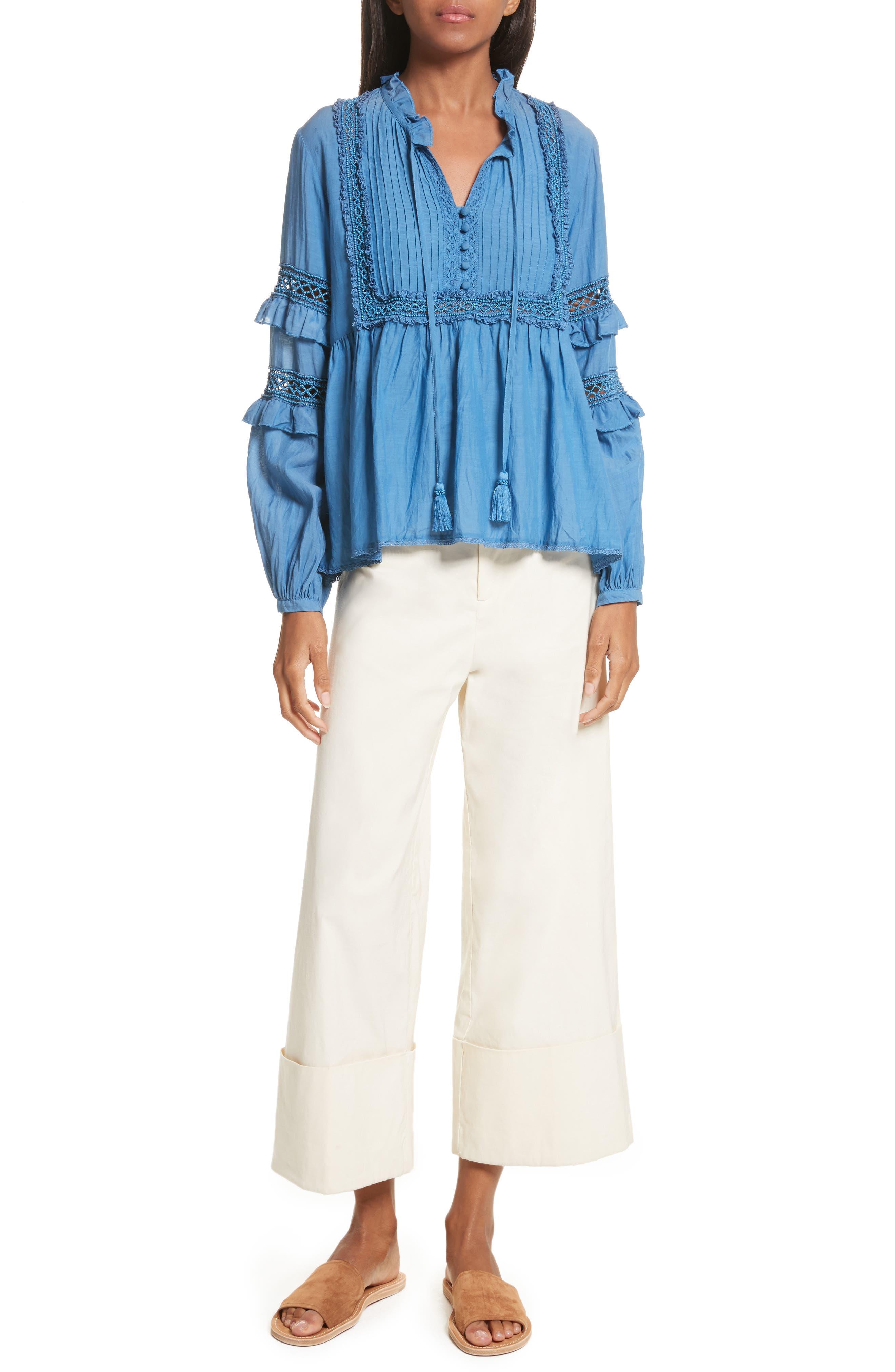 Adaline Ruffle Cotton Blouse,                             Alternate thumbnail 2, color,                             Blue