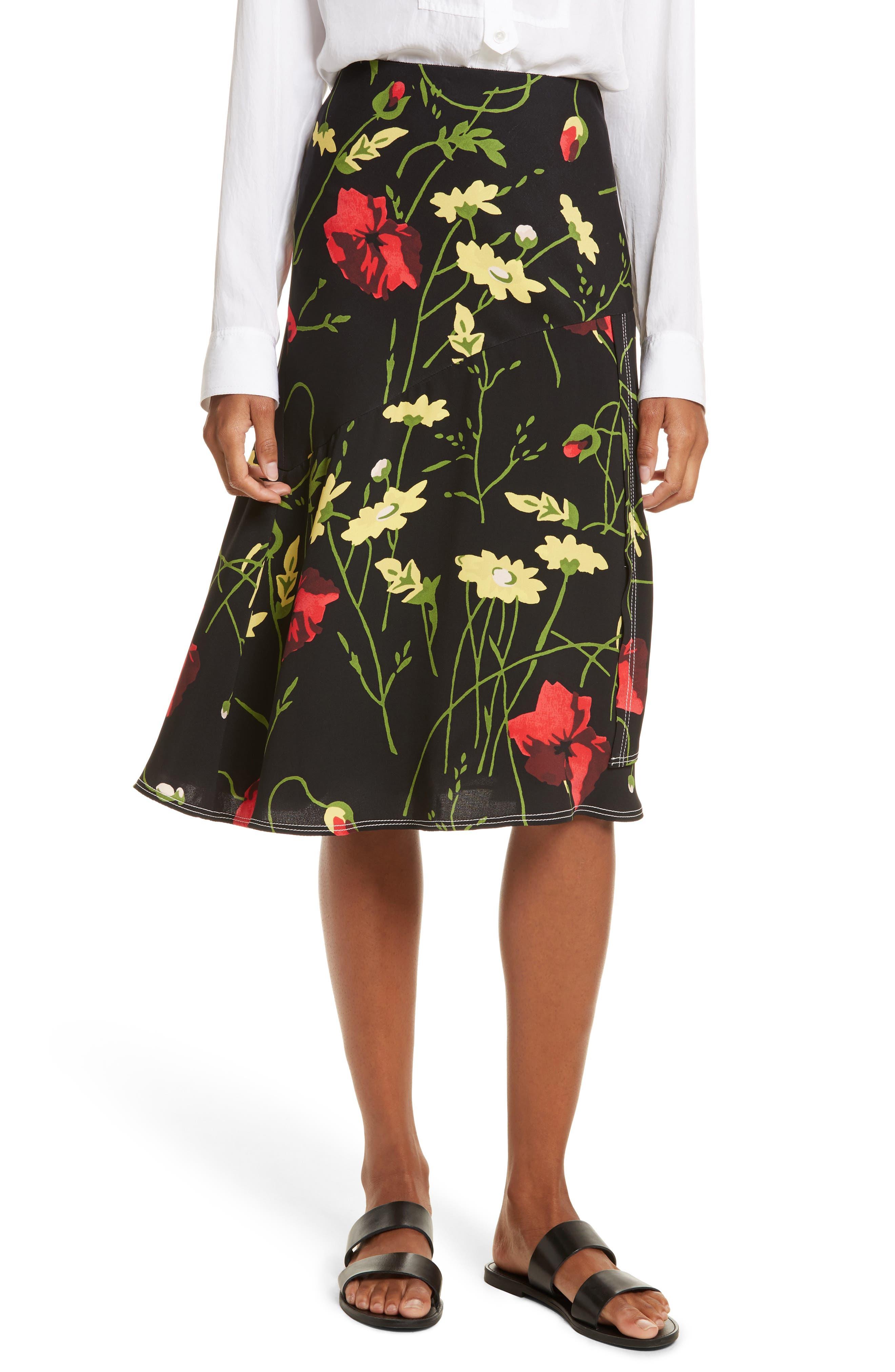 Floral Print Silk Skirt,                         Main,                         color, Black Multi