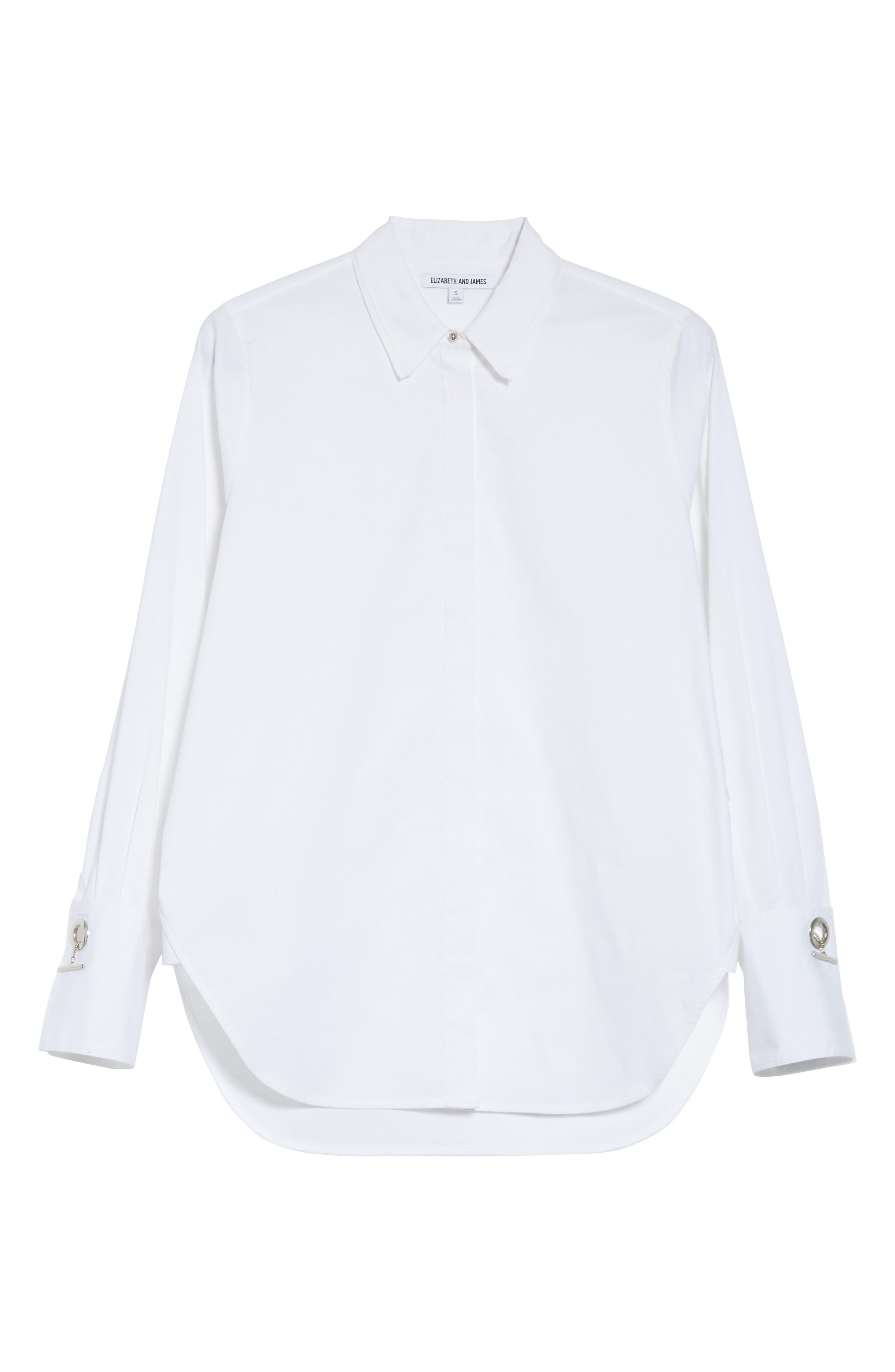 Jasper Stretch Poplin Shirt,                             Alternate thumbnail 6, color,                             White