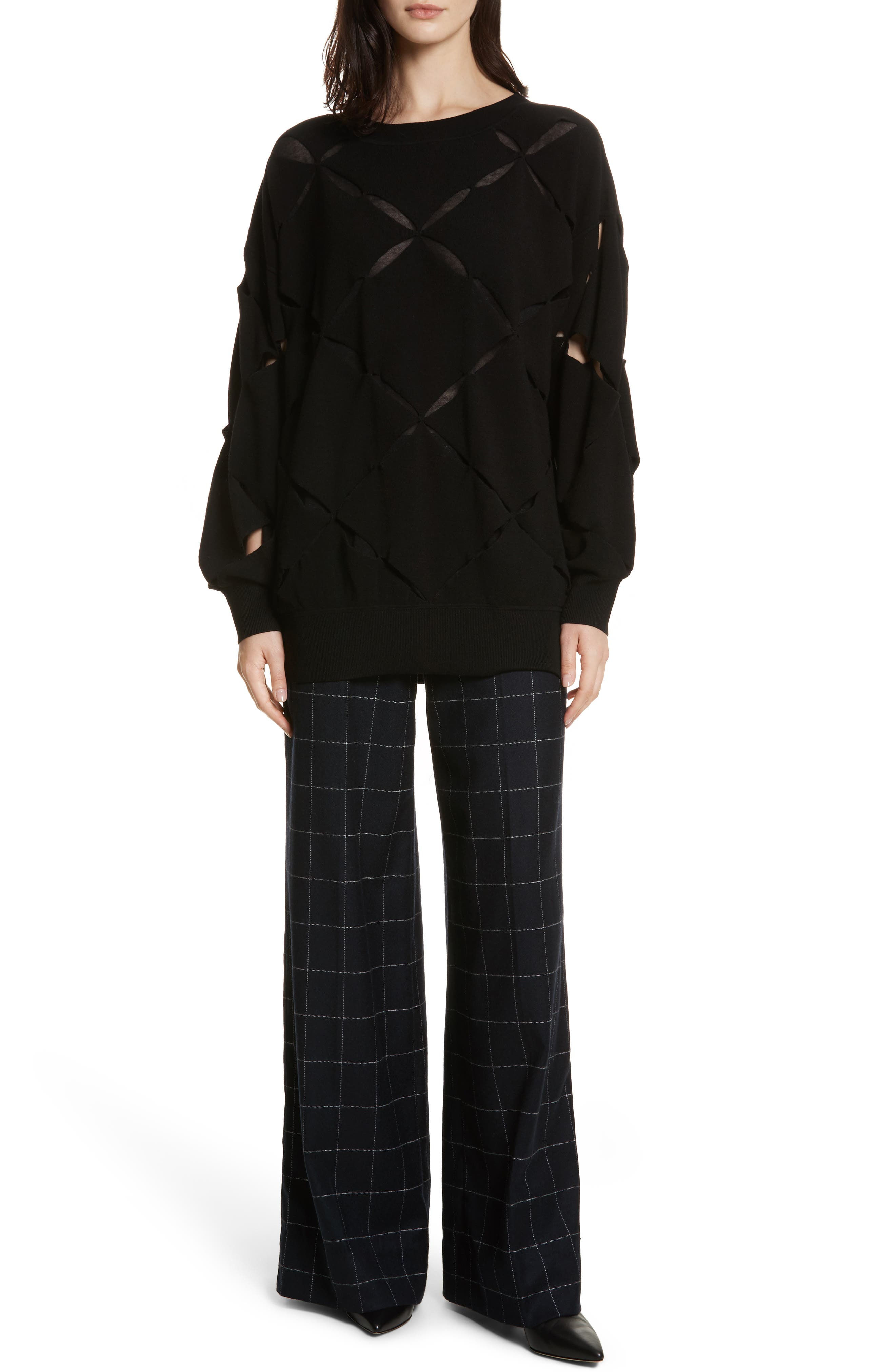 Roz Cutout Sweater,                             Alternate thumbnail 7, color,                             Black