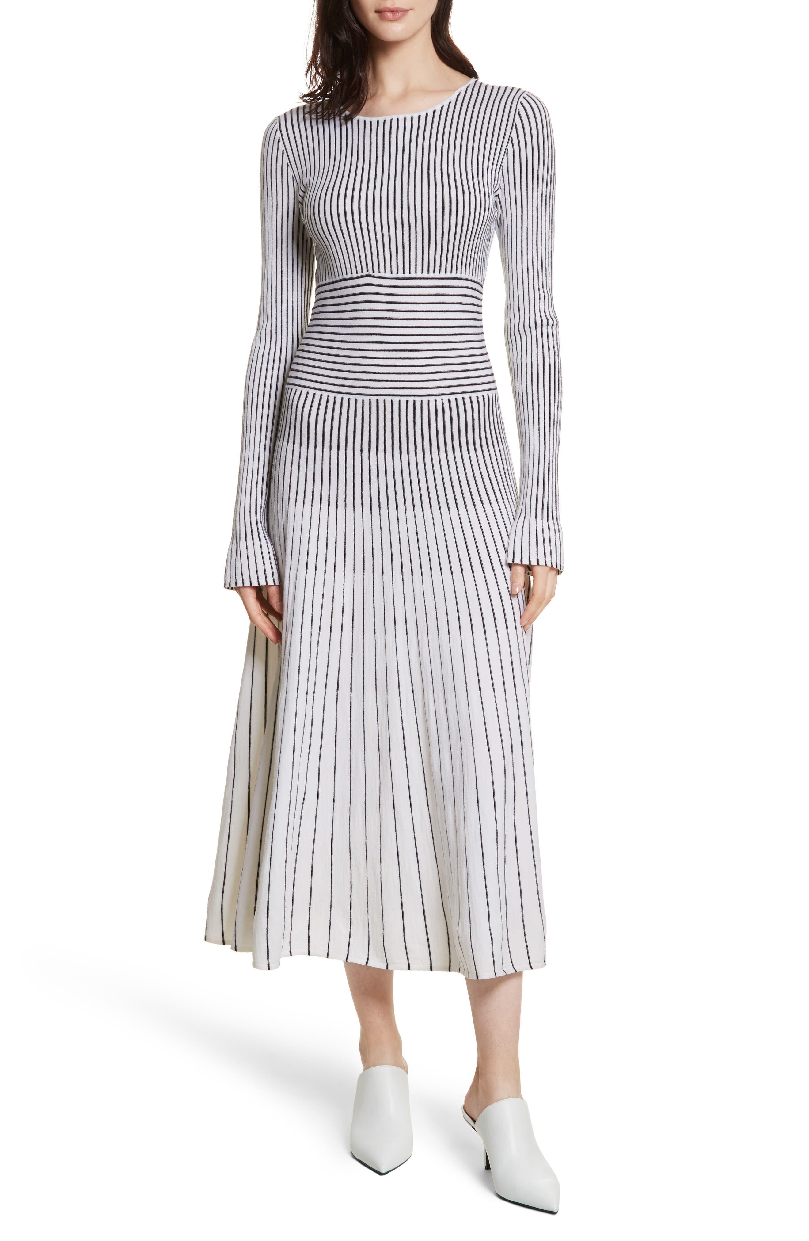 Sheridan Stripe Knit Midi Dress,                             Main thumbnail 1, color,                             Ivory/ Black