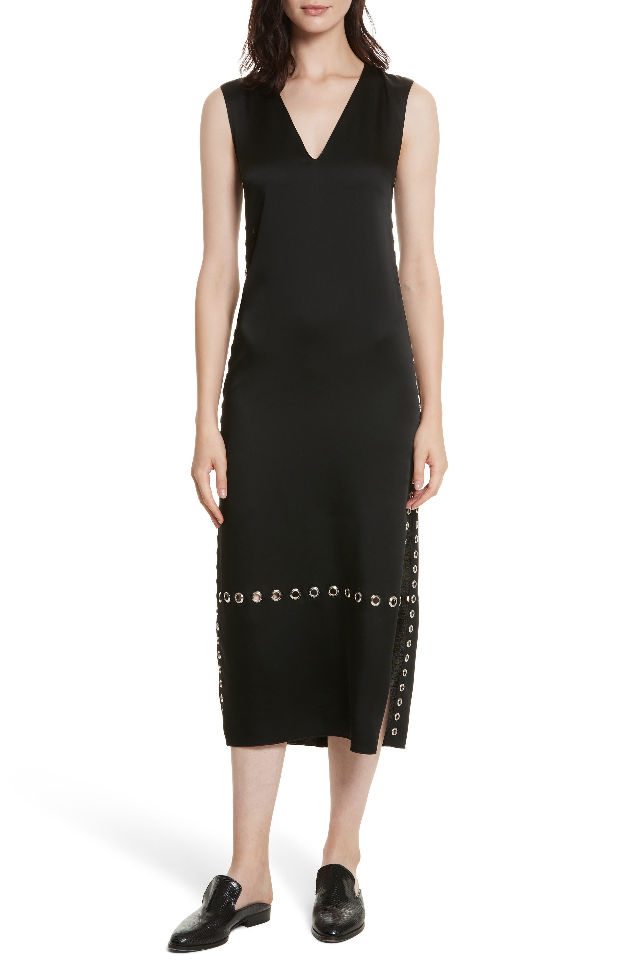 Leigh Grommet Midi Dress,                             Main thumbnail 1, color,                             Black