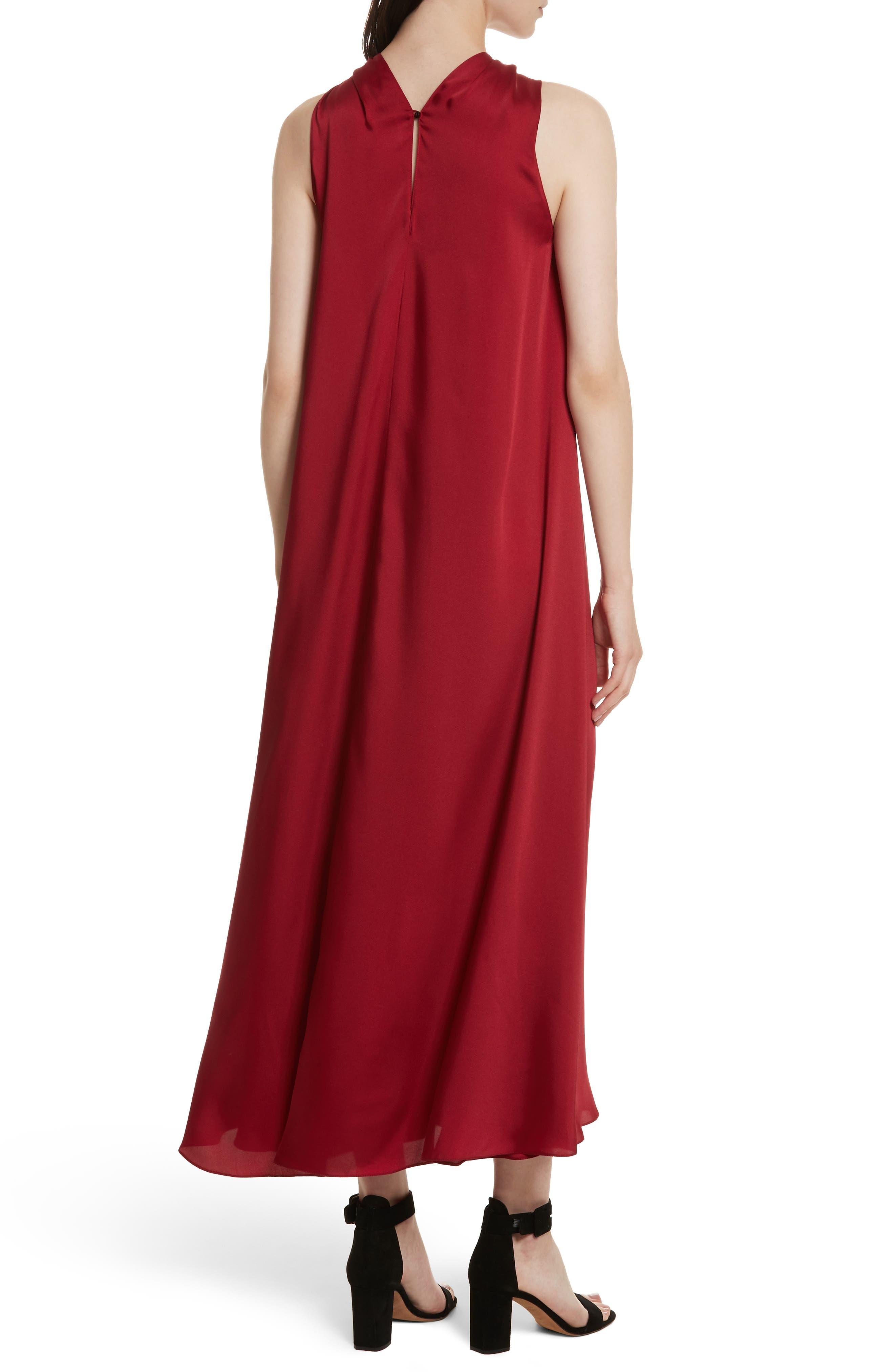Cavan Twist Neck Satin Dress,                             Alternate thumbnail 2, color,                             Ruby