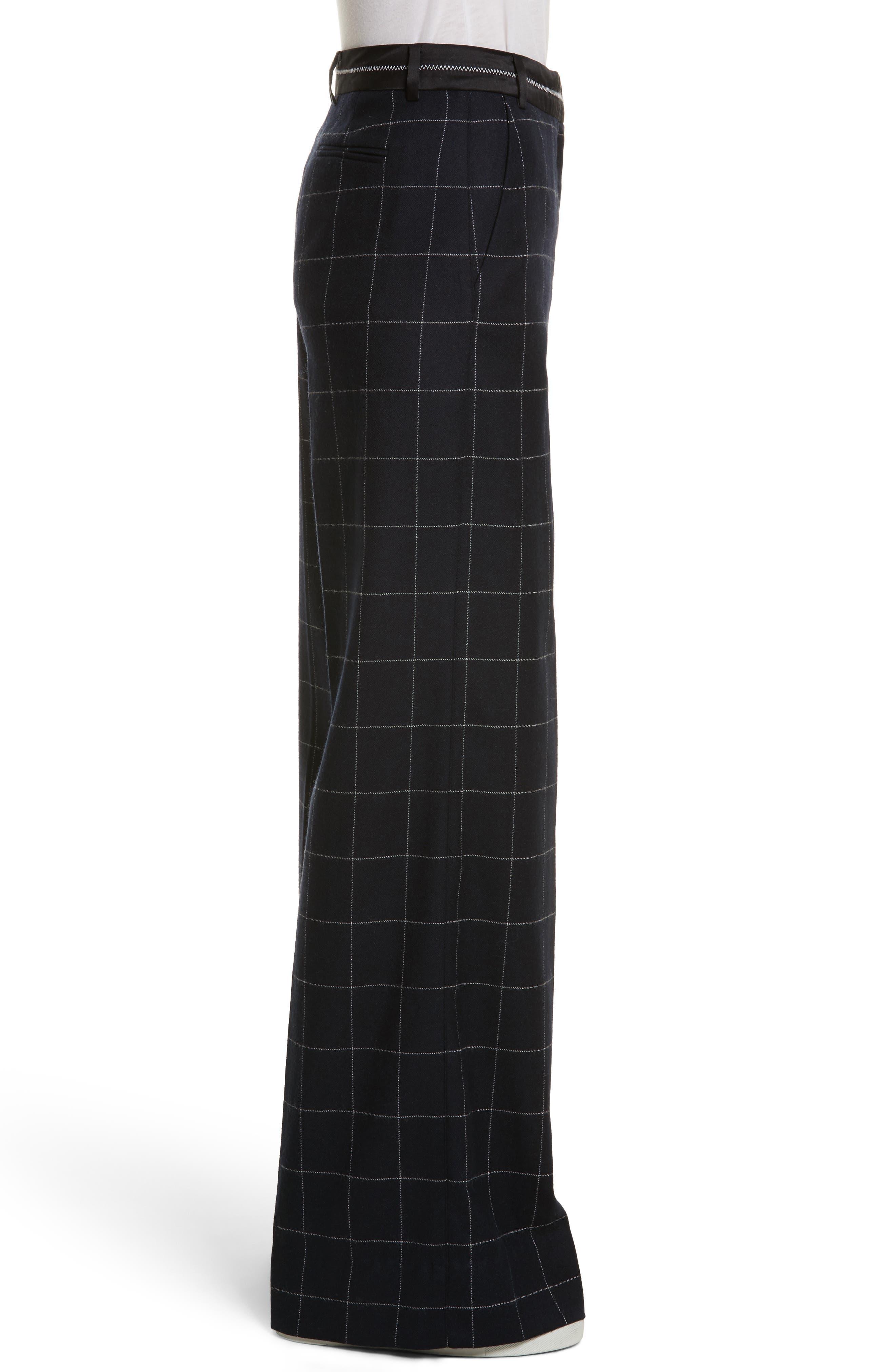 Windowpane Wool Blend Wide Leg Pants,                             Alternate thumbnail 3, color,                             Navy