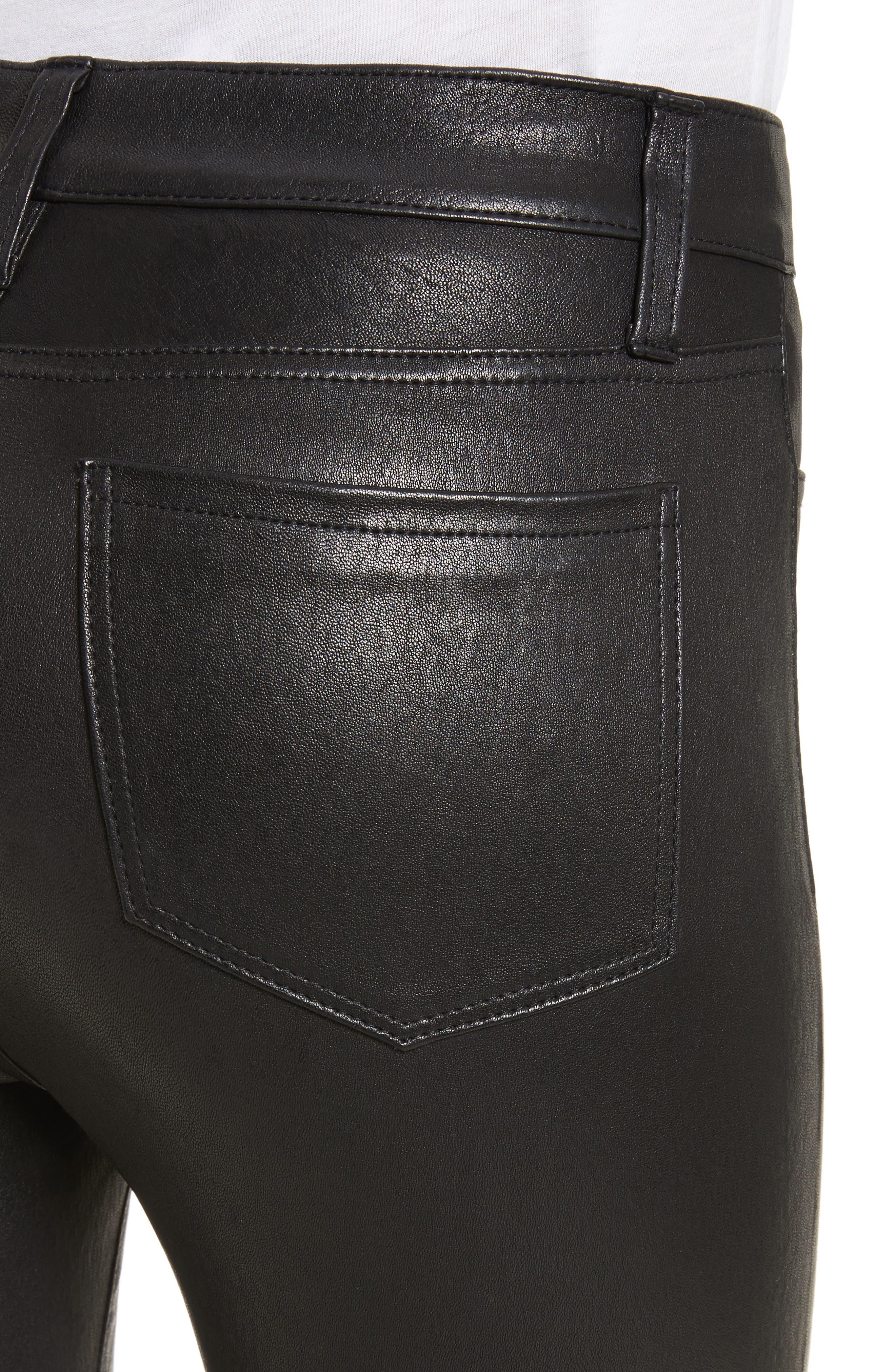 LAGENCE Adelaide High Waist Crop Leather Jeans,                             Alternate thumbnail 4, color,                             Noir