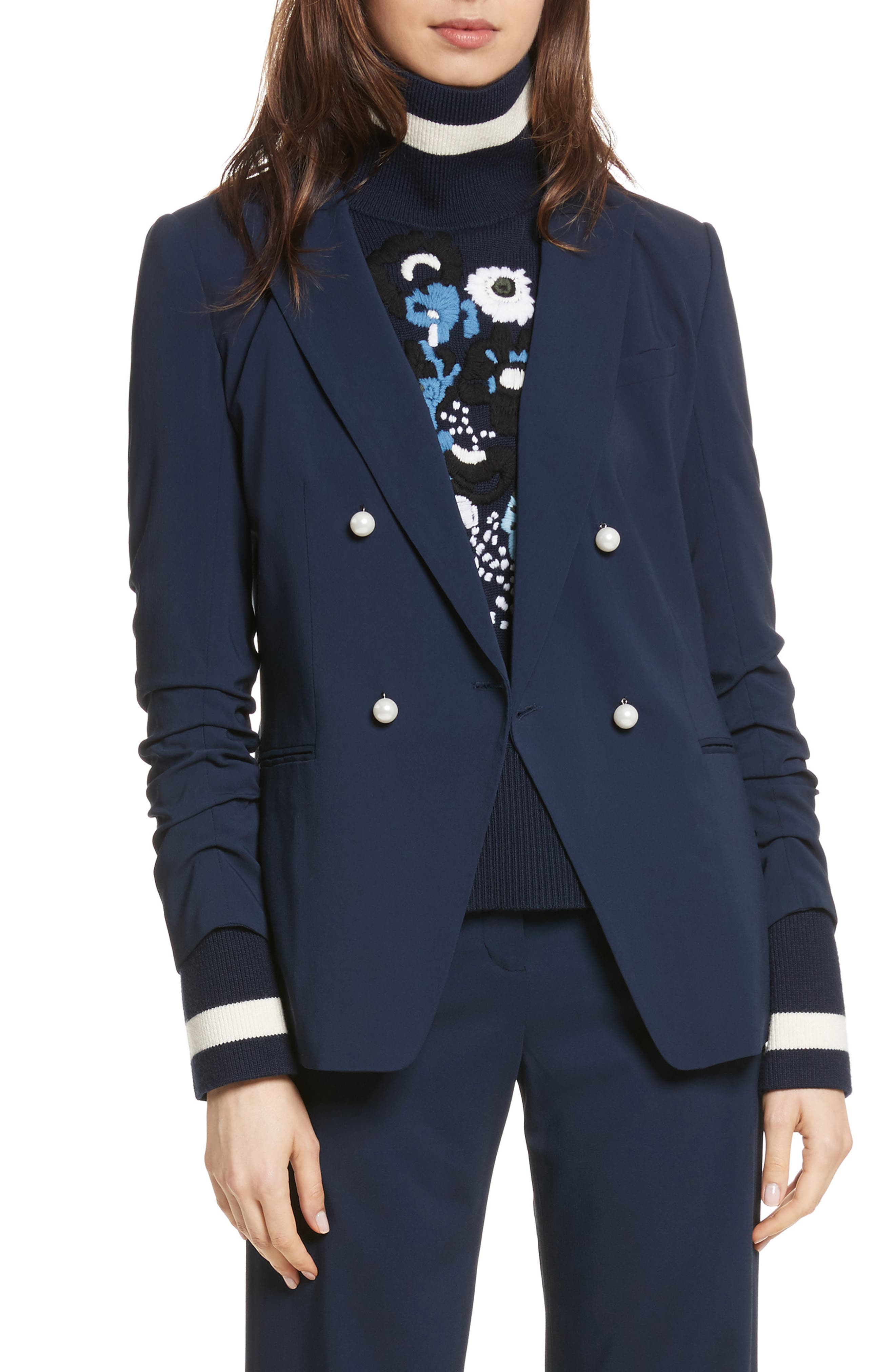 Whit Double Breasted Blazer,                             Main thumbnail 1, color,                             Navy