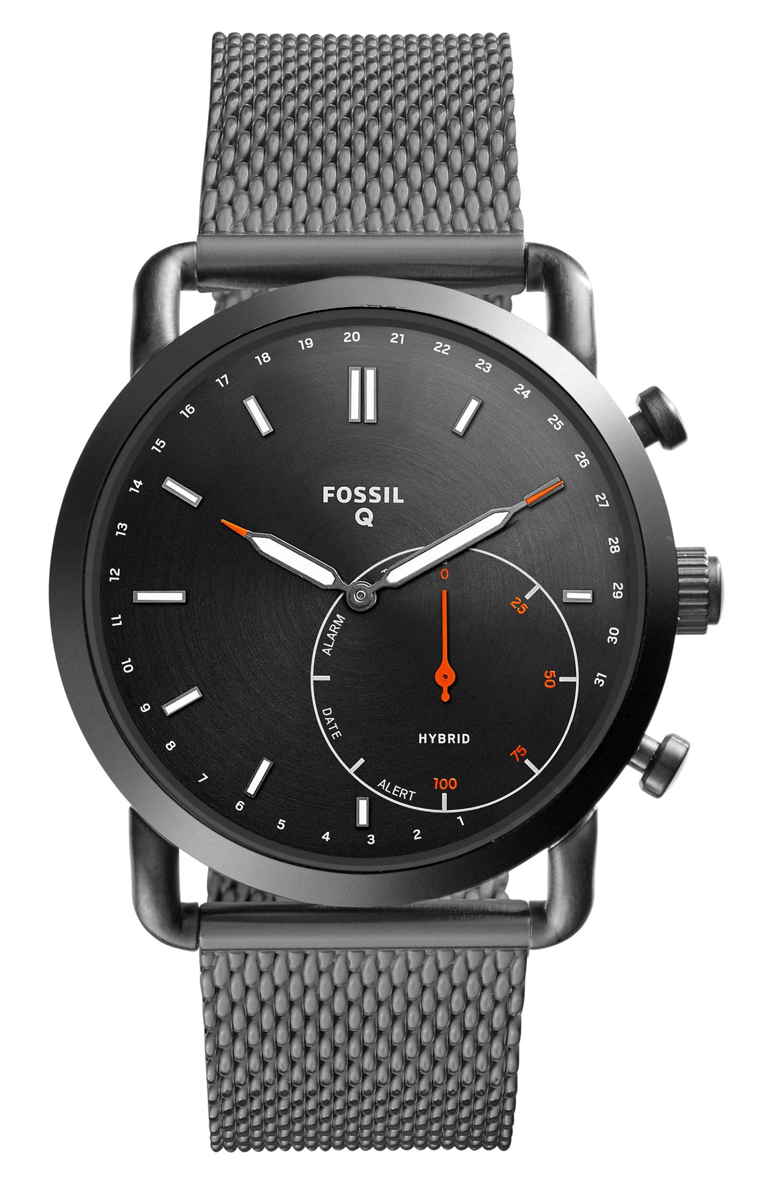 Fossil Q Commuter Mesh Strap Hybrid Smart Watch, 42mm