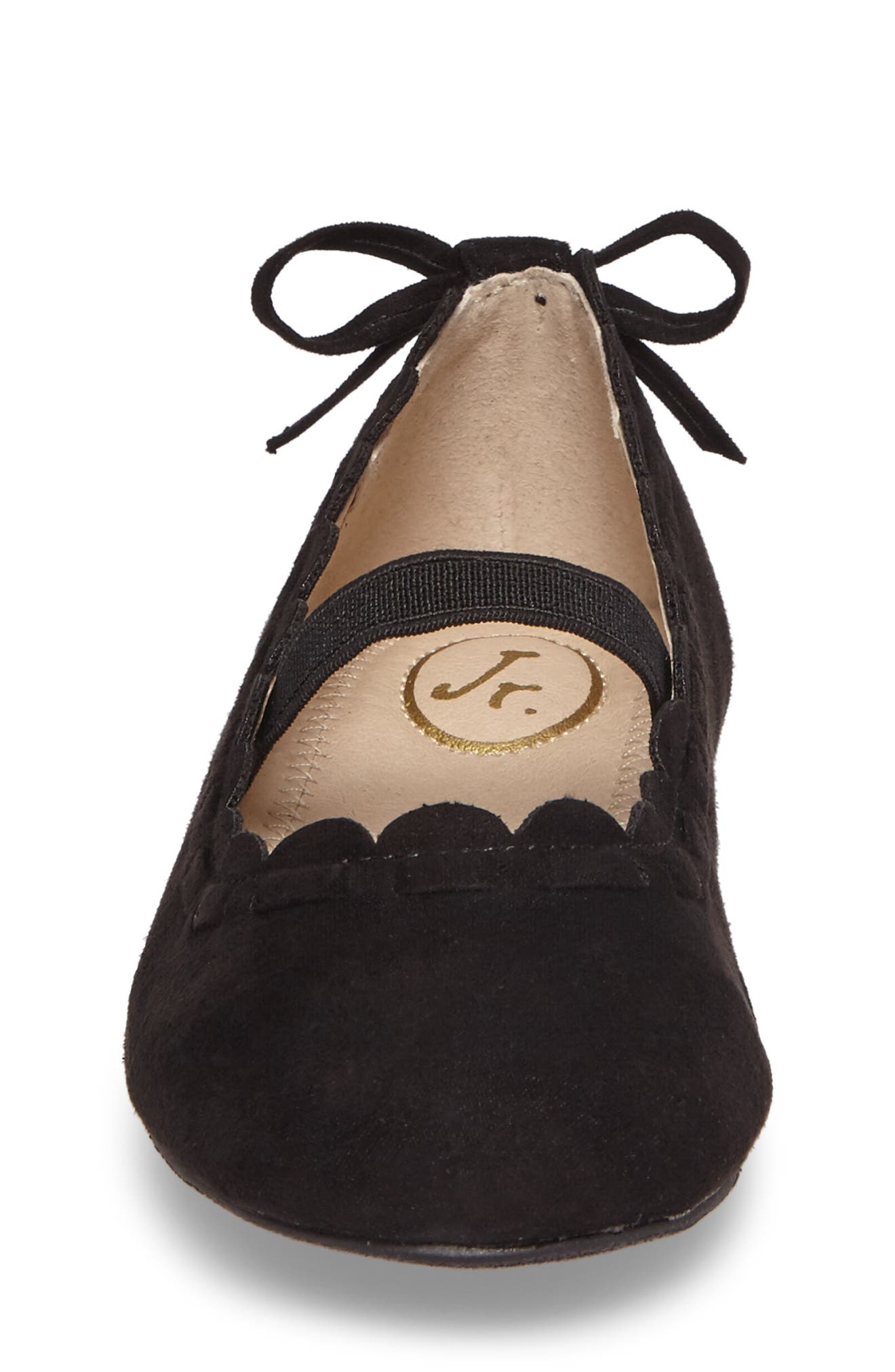 Little Miss Lucie Scalloped Mary Jane Flat,                             Alternate thumbnail 4, color,                             Black