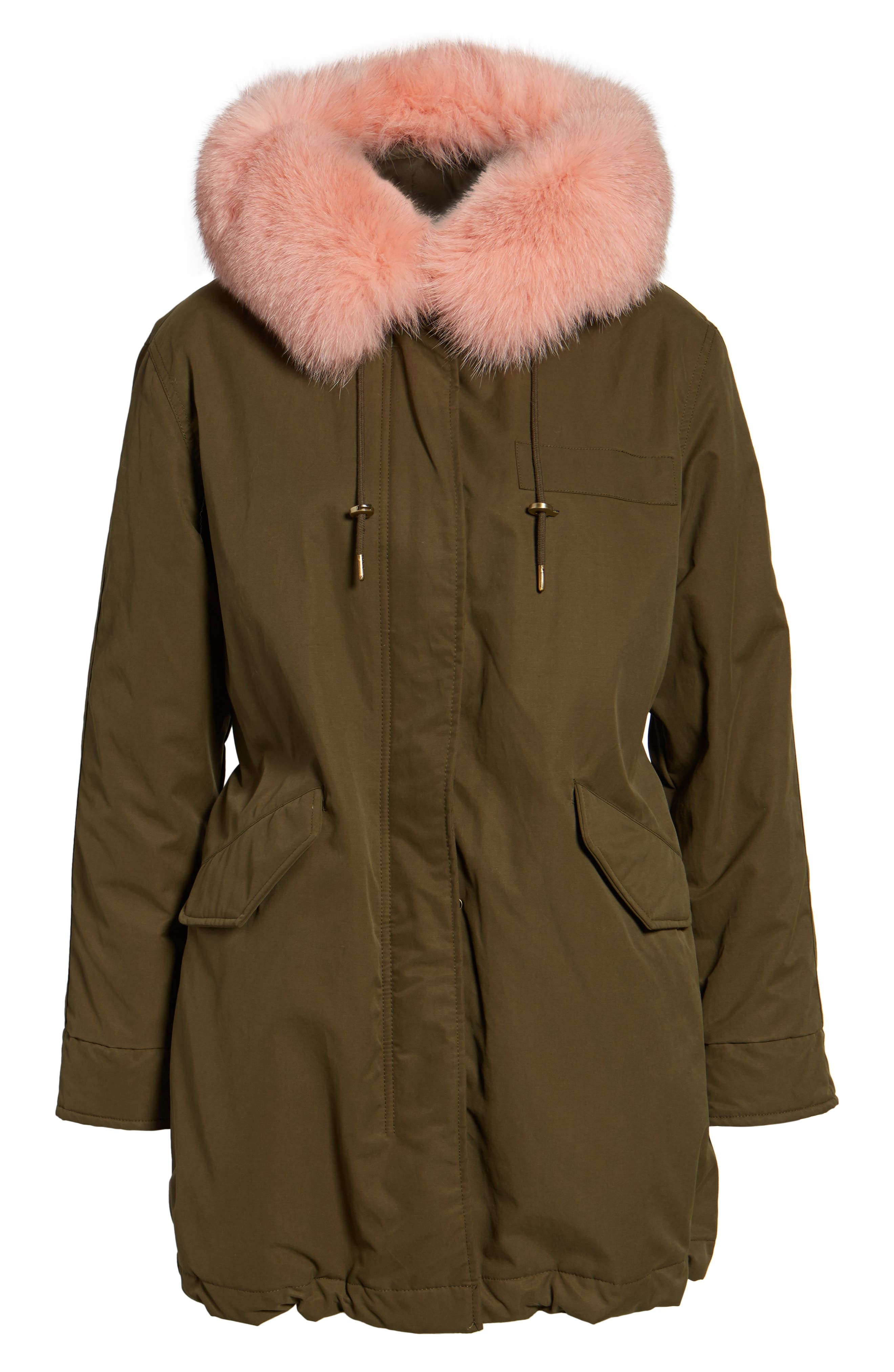 Alternate Image 6  - 1 Madison Hooded Cotton Parka with Genuine Fox Fur Trim