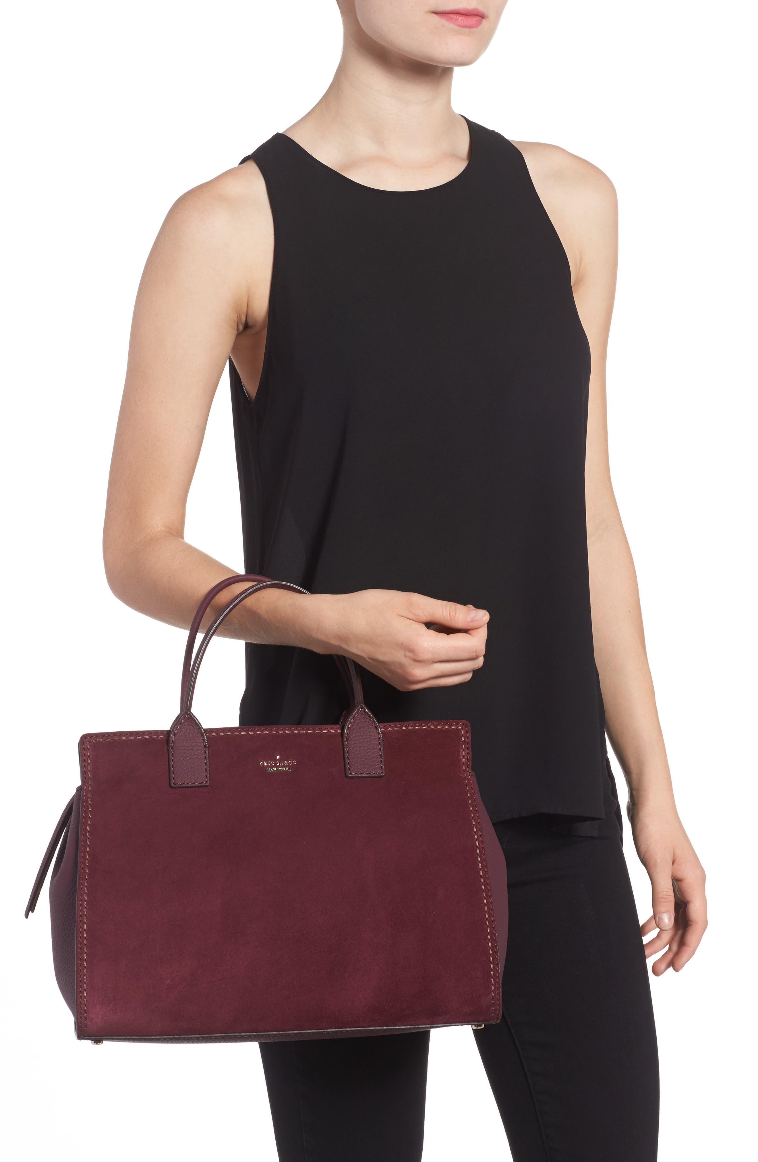 dunne lane lake suede satchel,                             Alternate thumbnail 2, color,                             Deep Wine