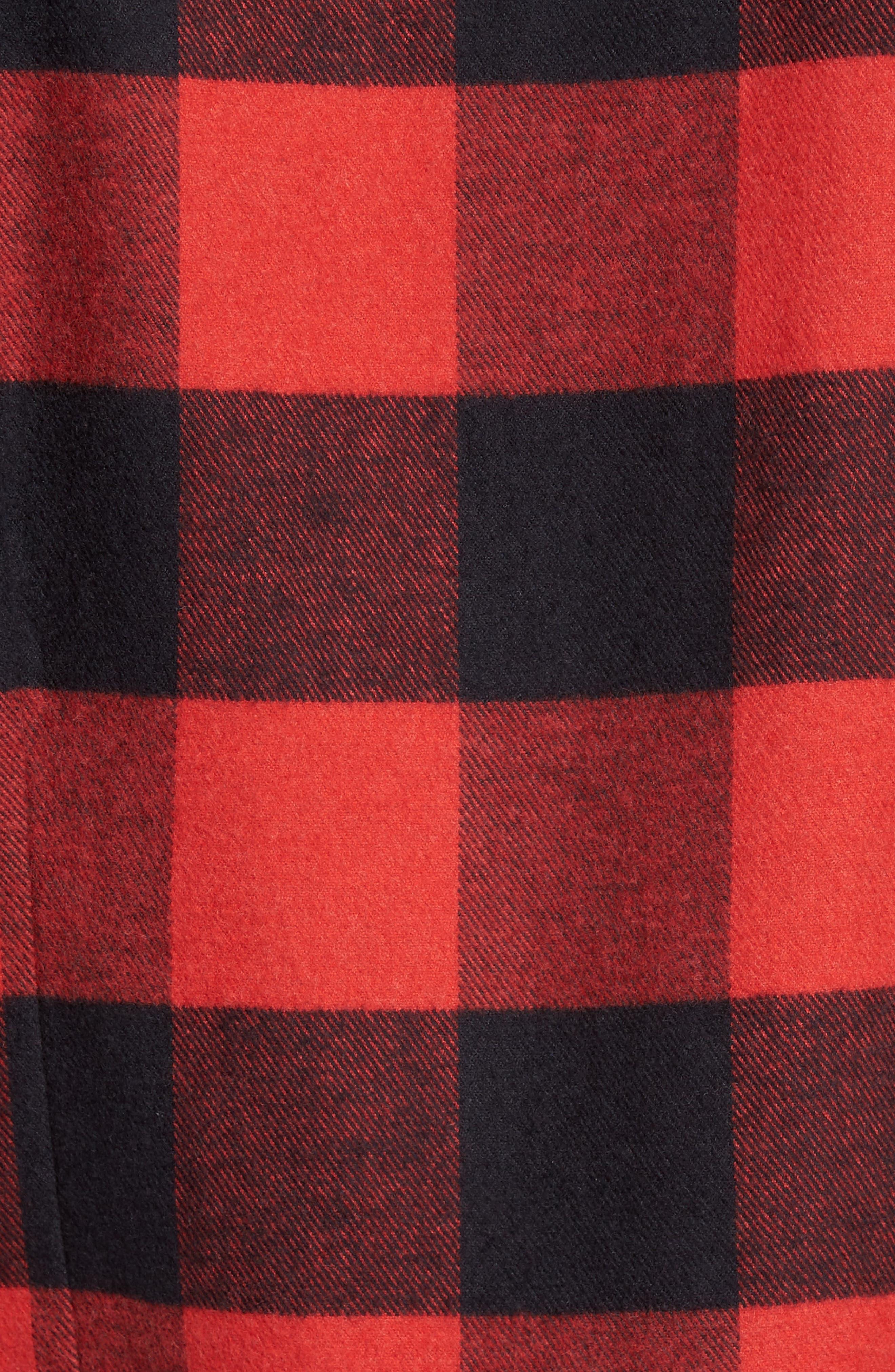 Slim Fit Buffalo Plaid Sport Shirt,                             Alternate thumbnail 5, color,                             Red