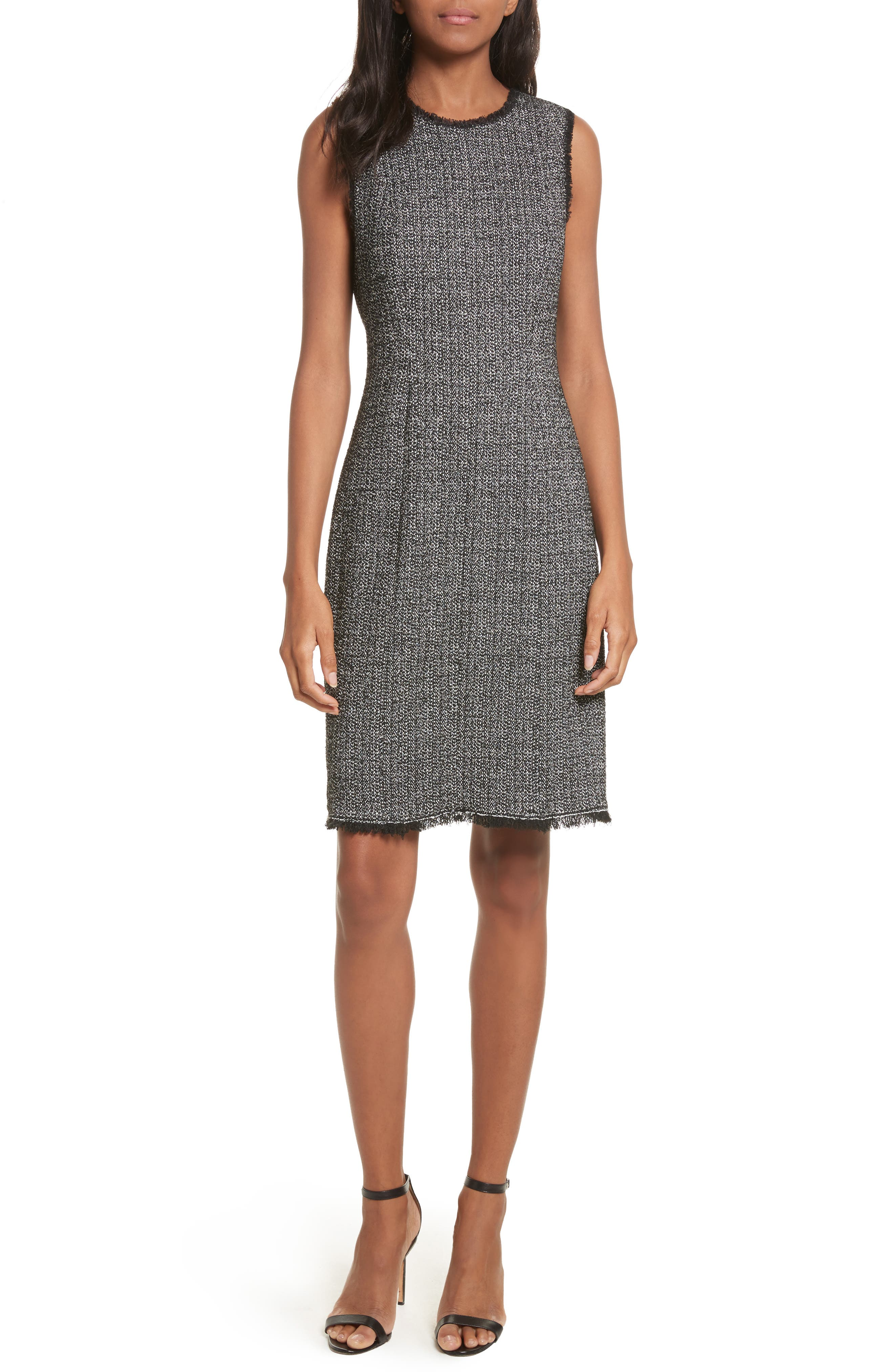 Tweed Sheath Dress,                             Main thumbnail 1, color,                             Black Combo
