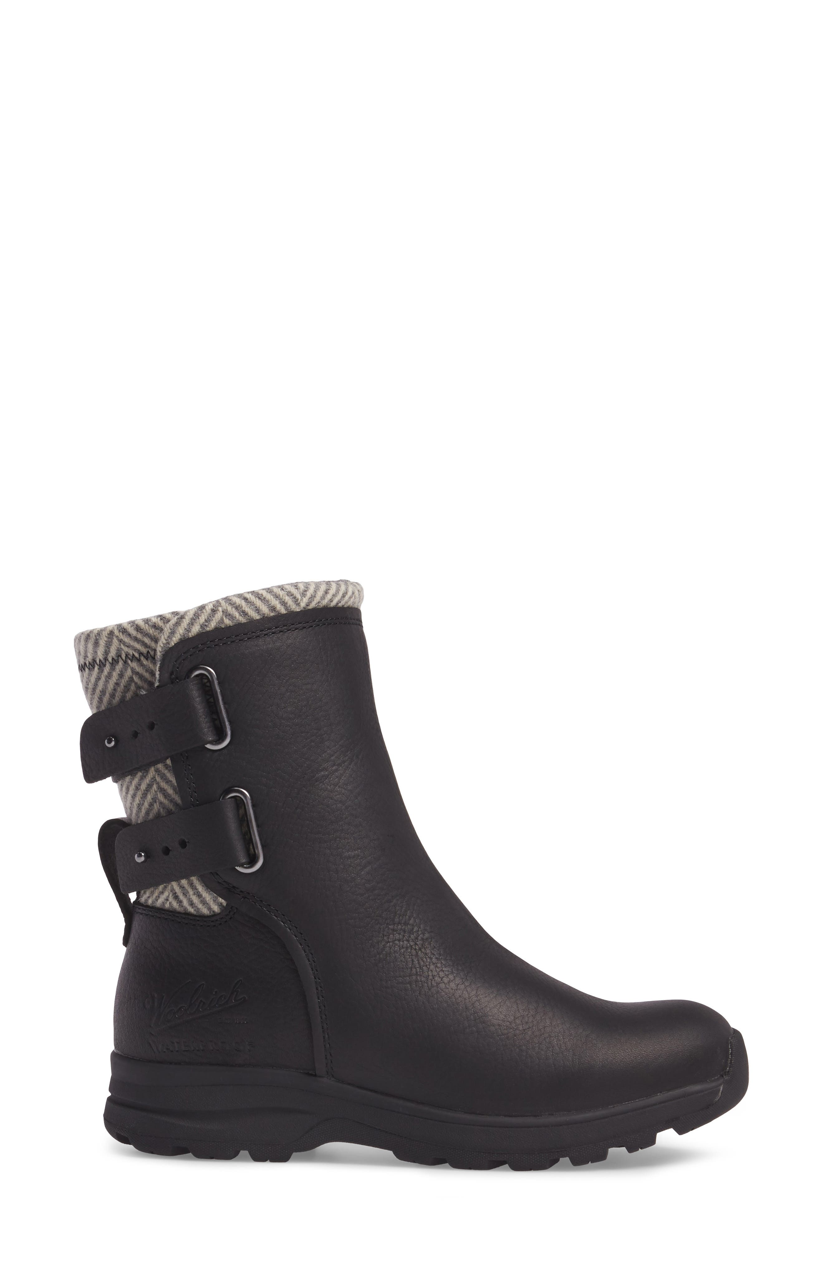 Koosa Waterproof Boot,                             Alternate thumbnail 3, color,                             Black Leather/ Herringbone