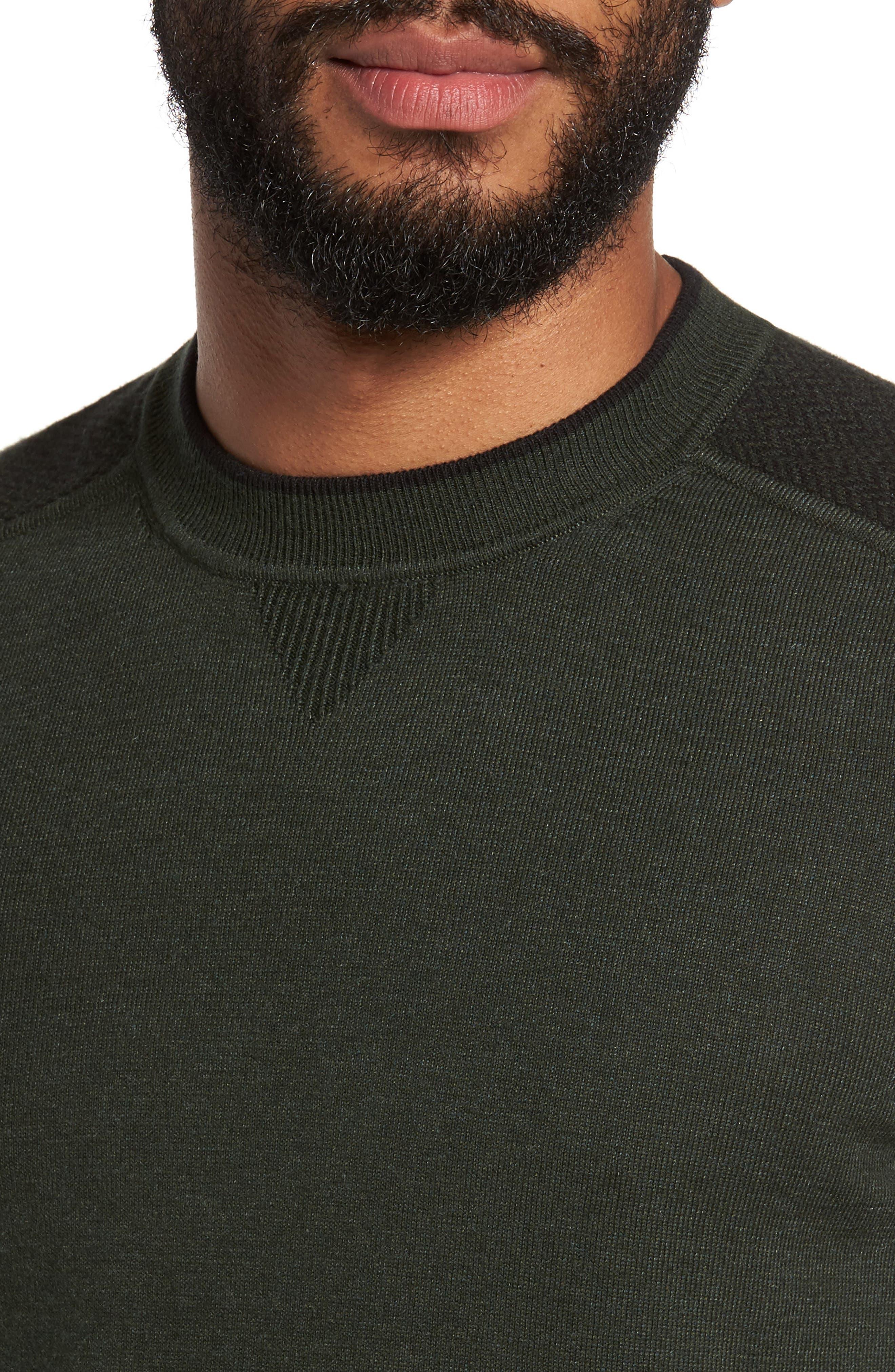 Pepmint Herringbone Sleeve Sweatshirt,                             Alternate thumbnail 4, color,                             Khaki