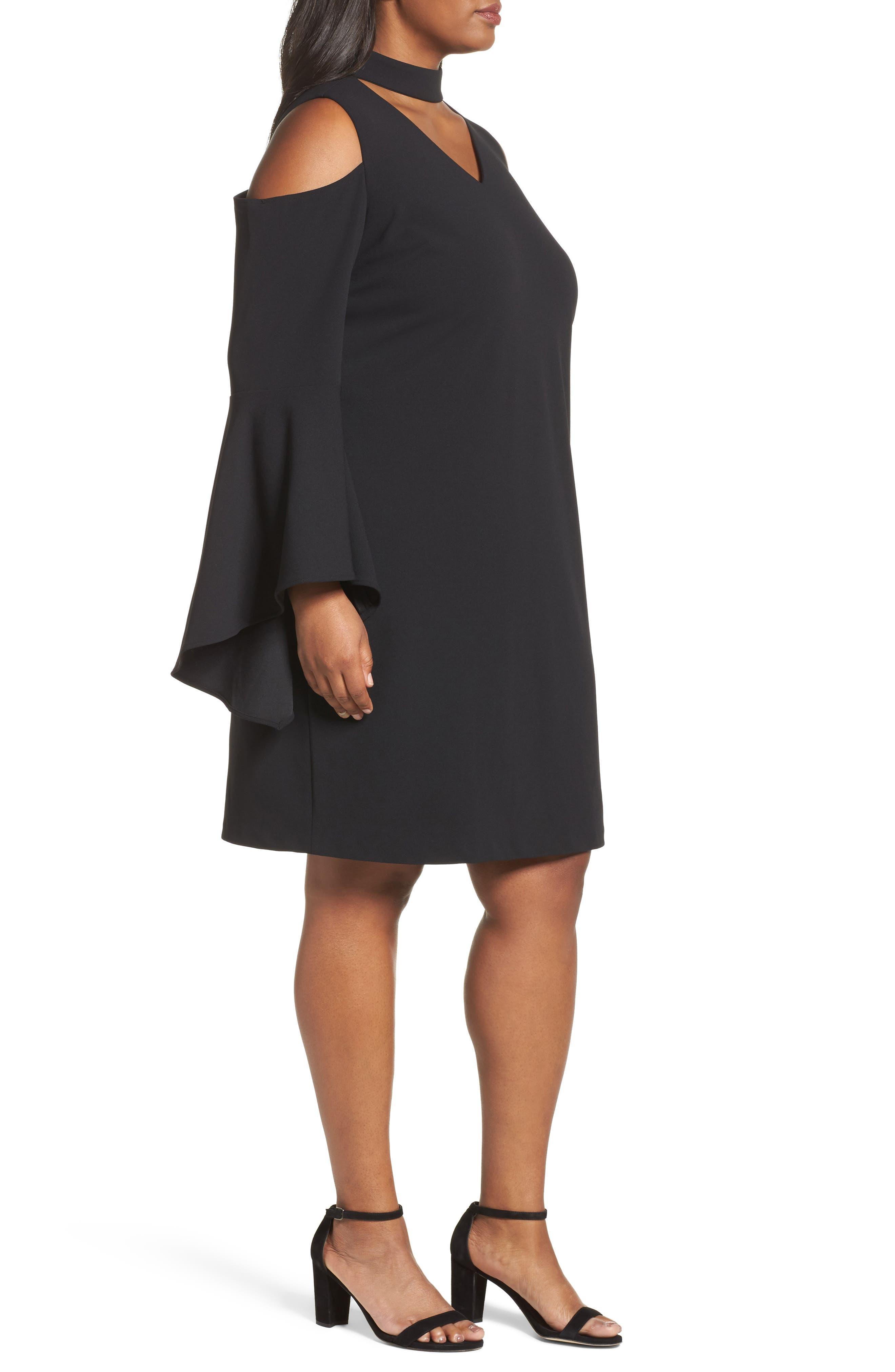 Cold Shoulder Bell Sleeve Dress,                             Alternate thumbnail 3, color,                             Rich Black