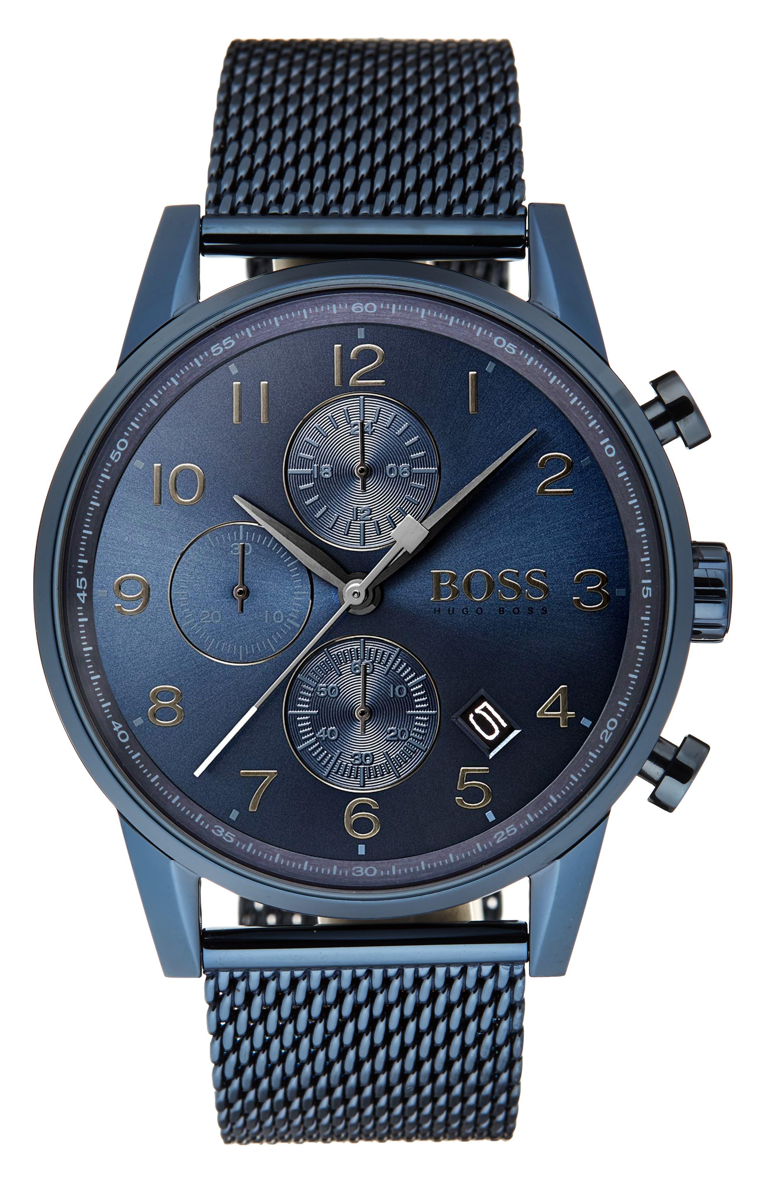 Navigator Chronograph Mesh Strap Watch, 44mm,                         Main,                         color, Navy/ Navy