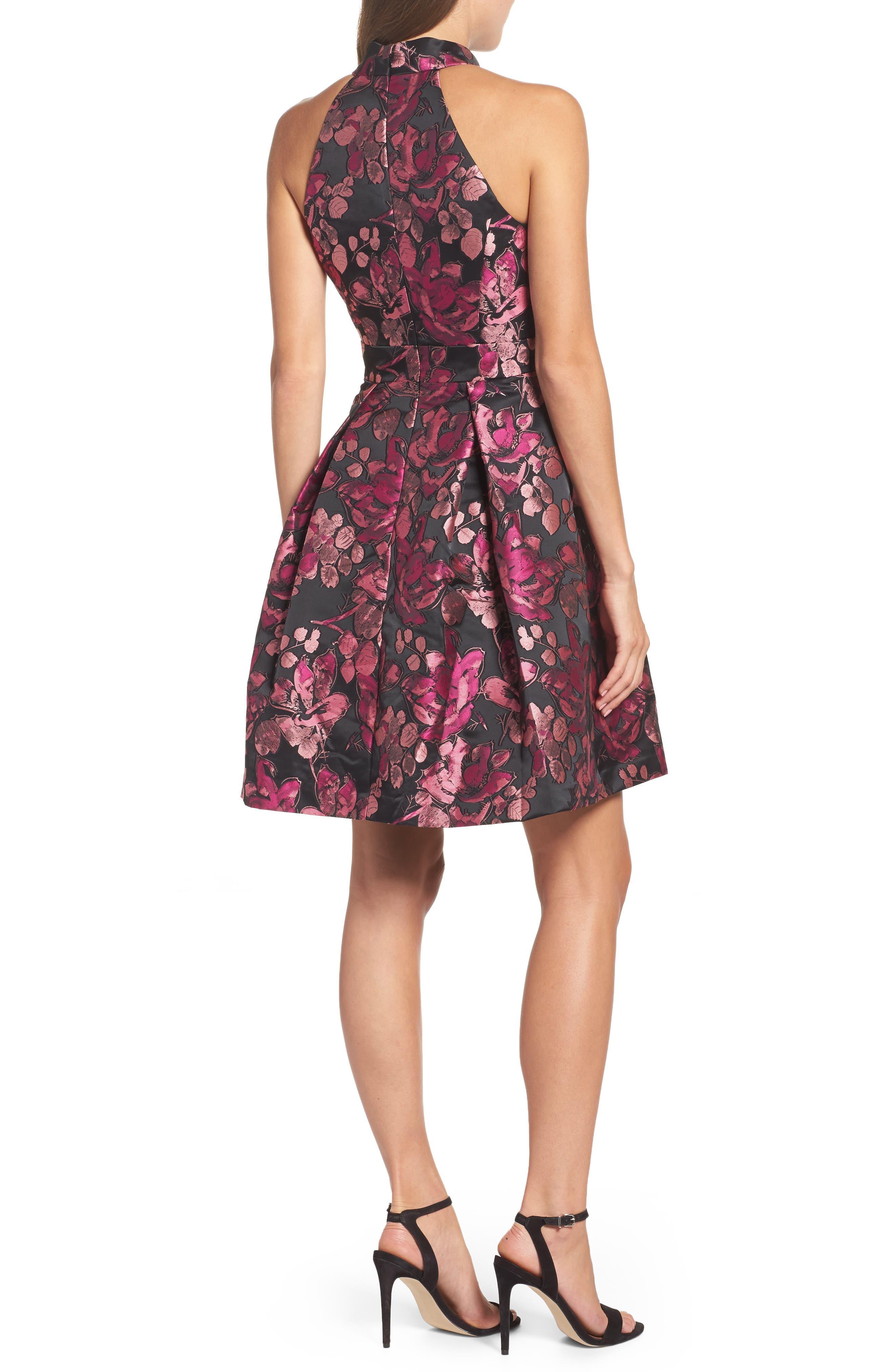 Alternate Image 2  - Eliza J Floral Halter Fit & Flare Dress (Regular & Petite)