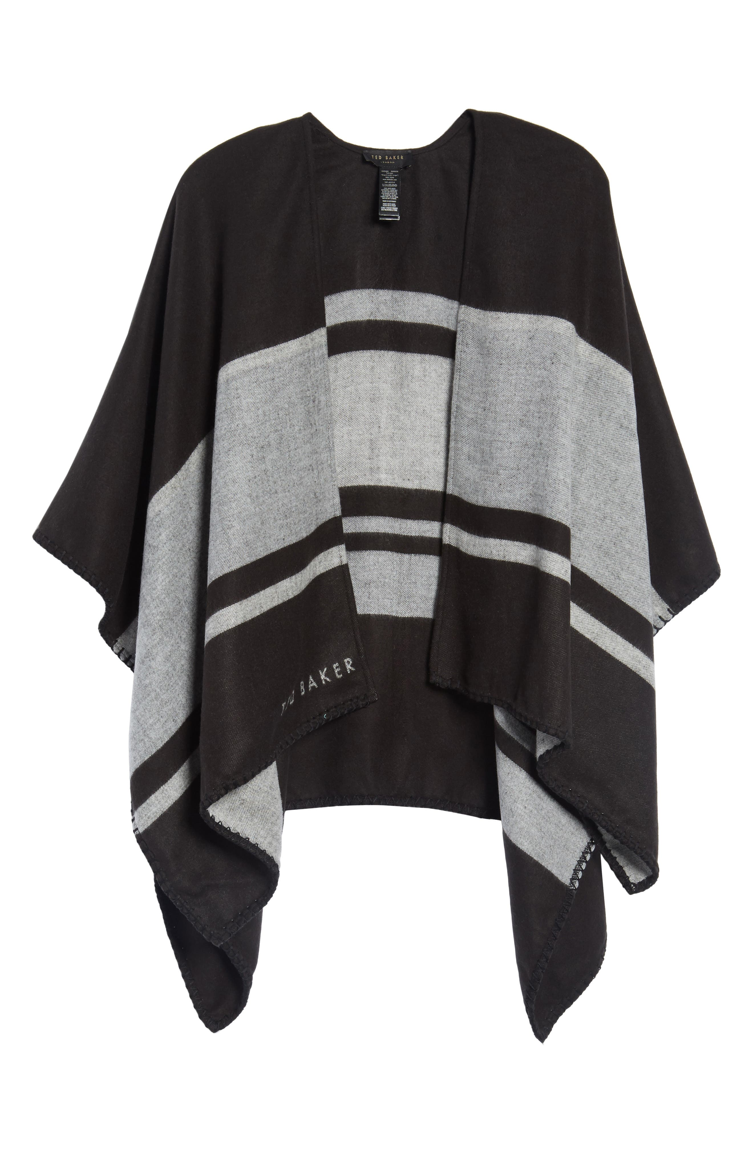 Stairway Stripe Blanket Cape,                             Alternate thumbnail 6, color,                             00-Black