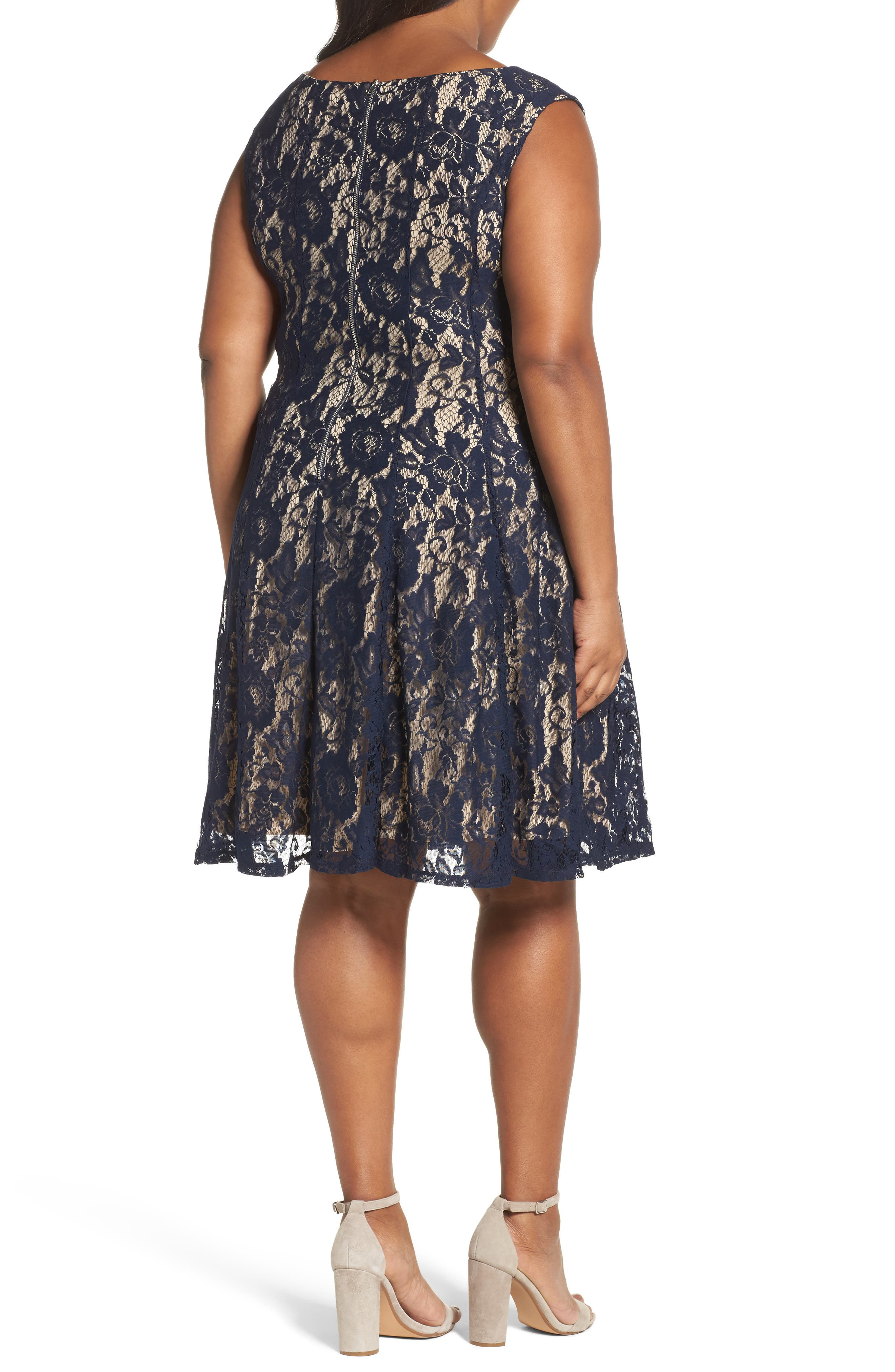 Lace Fit & Flare Dress,                             Alternate thumbnail 2, color,                             Navy/ Nude