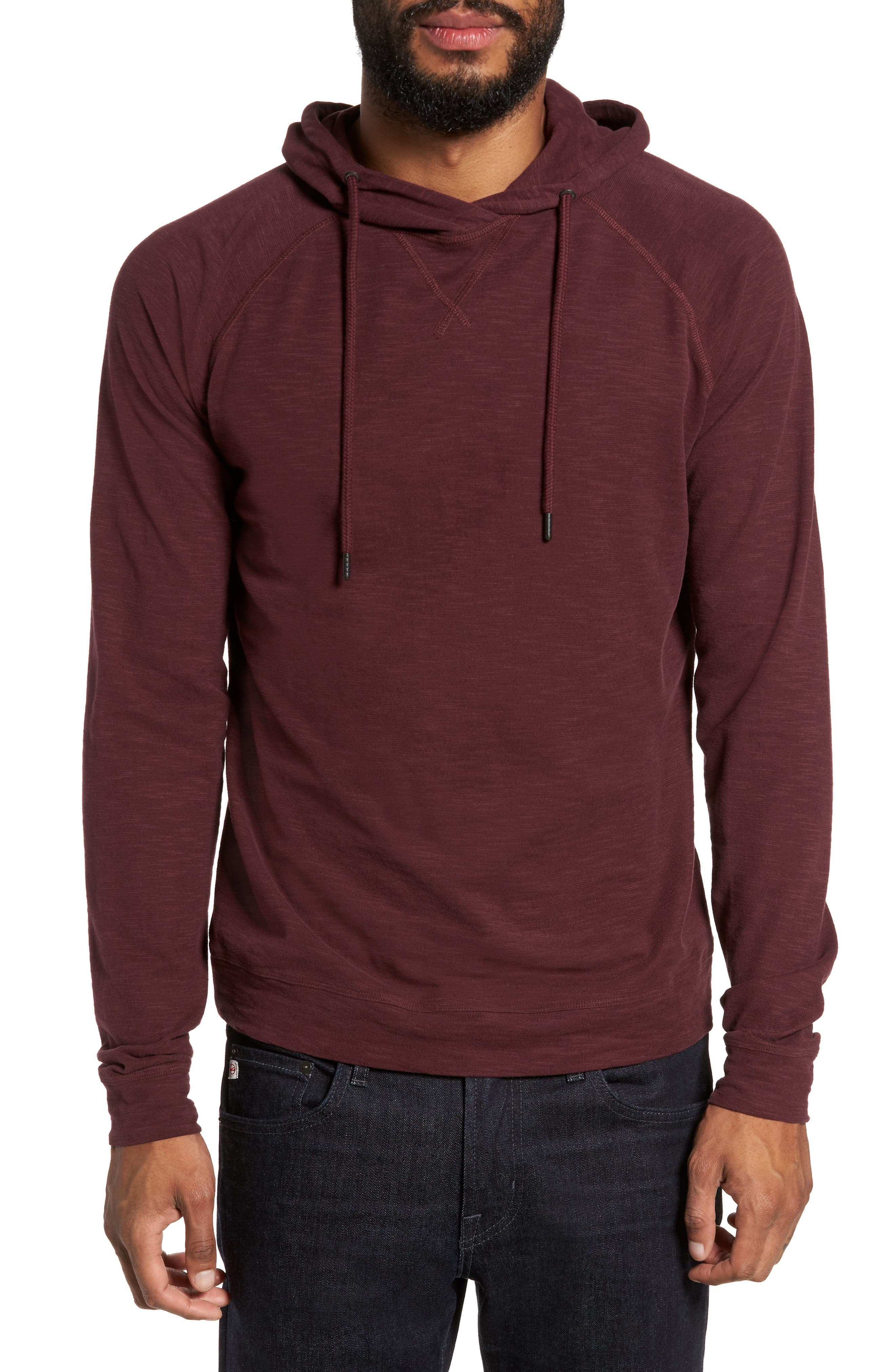 Slim Fit Pullover Hoodie,                             Main thumbnail 1, color,                             Wine