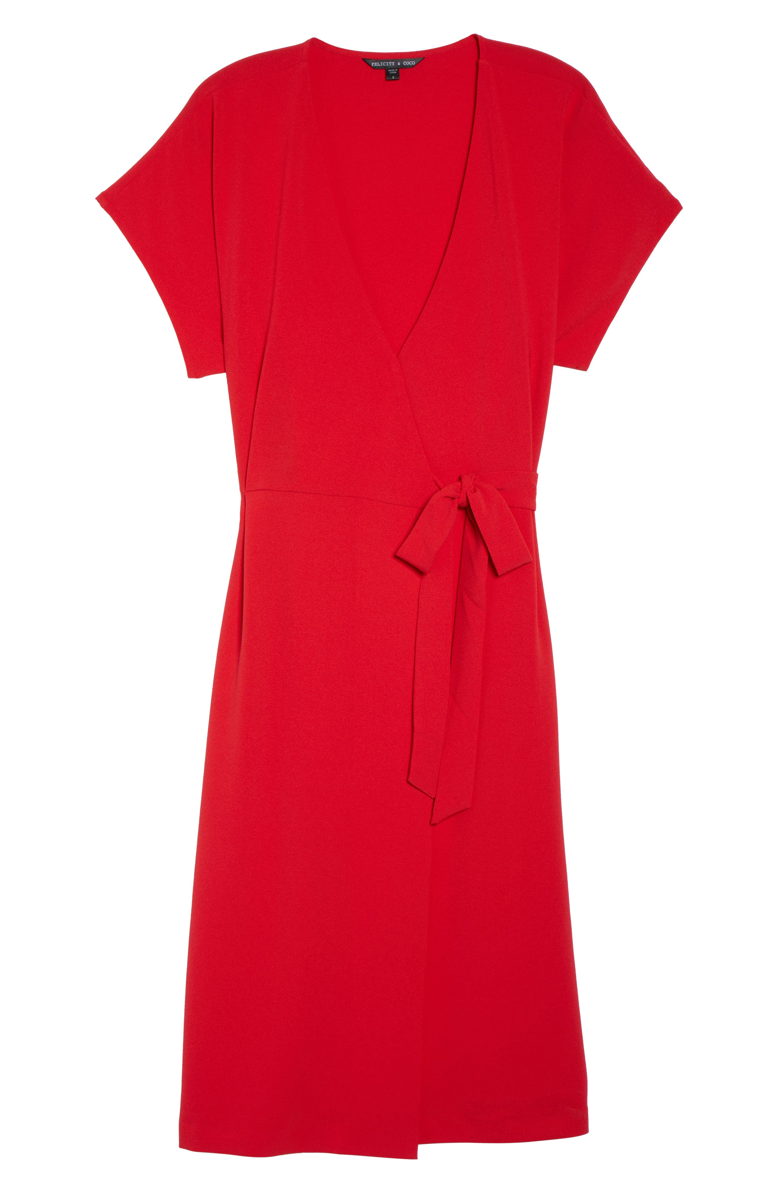 Rita Wrap Dress,                             Alternate thumbnail 7, color,                             Red