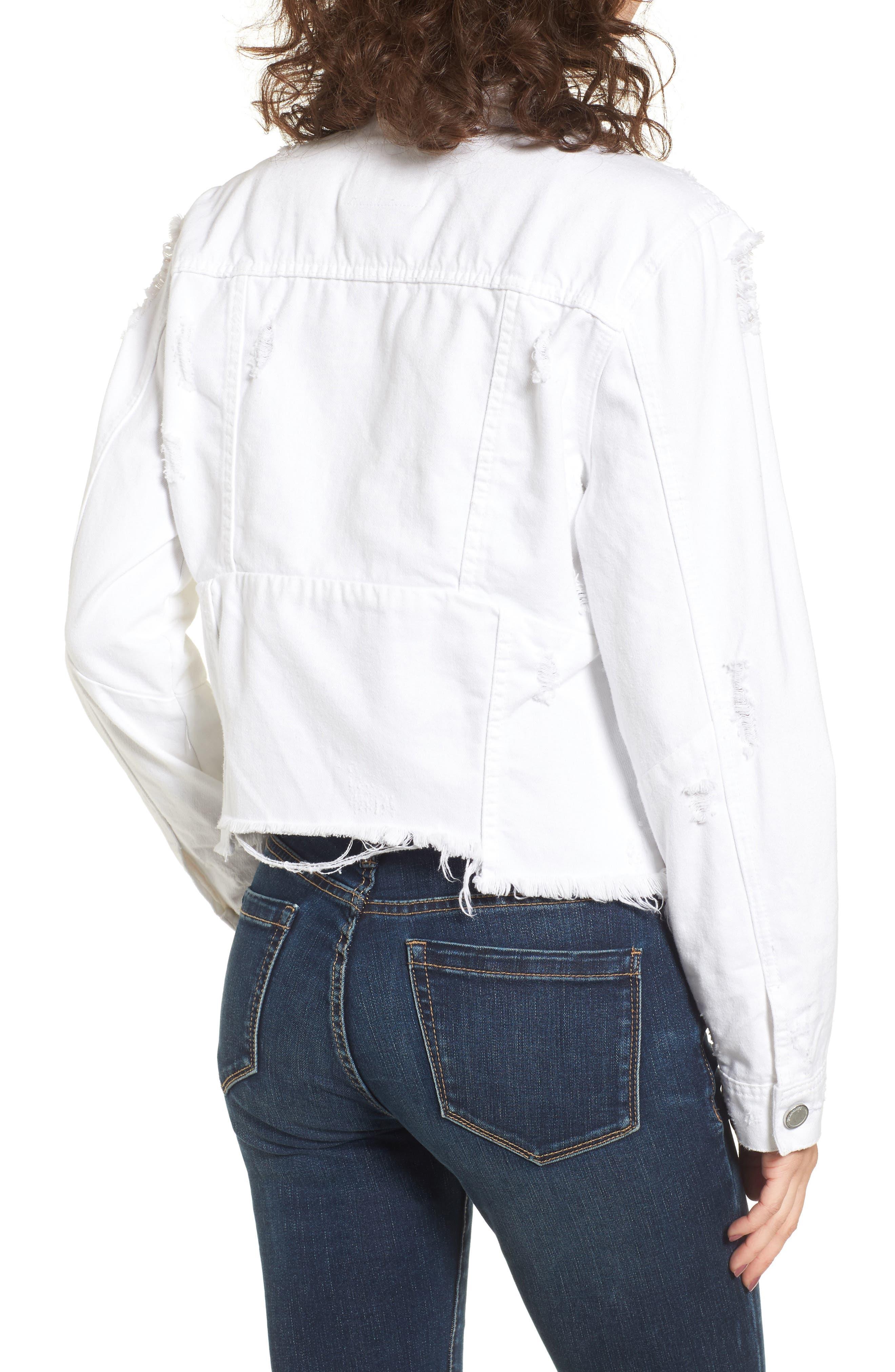 Distressed Denim Jacket,                             Alternate thumbnail 2, color,                             Lightbox White