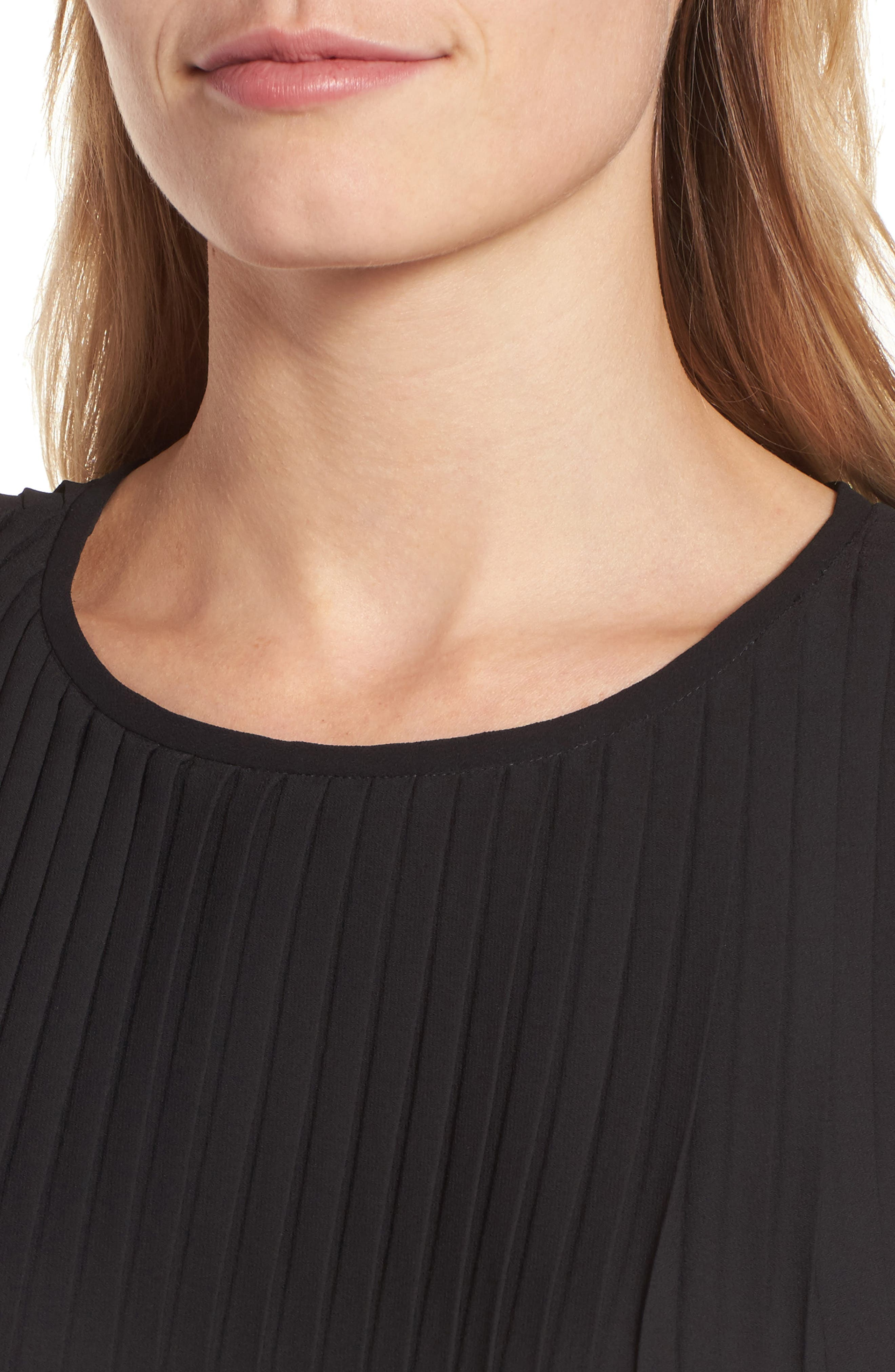 Pleated Shift Dress,                             Alternate thumbnail 4, color,                             Black