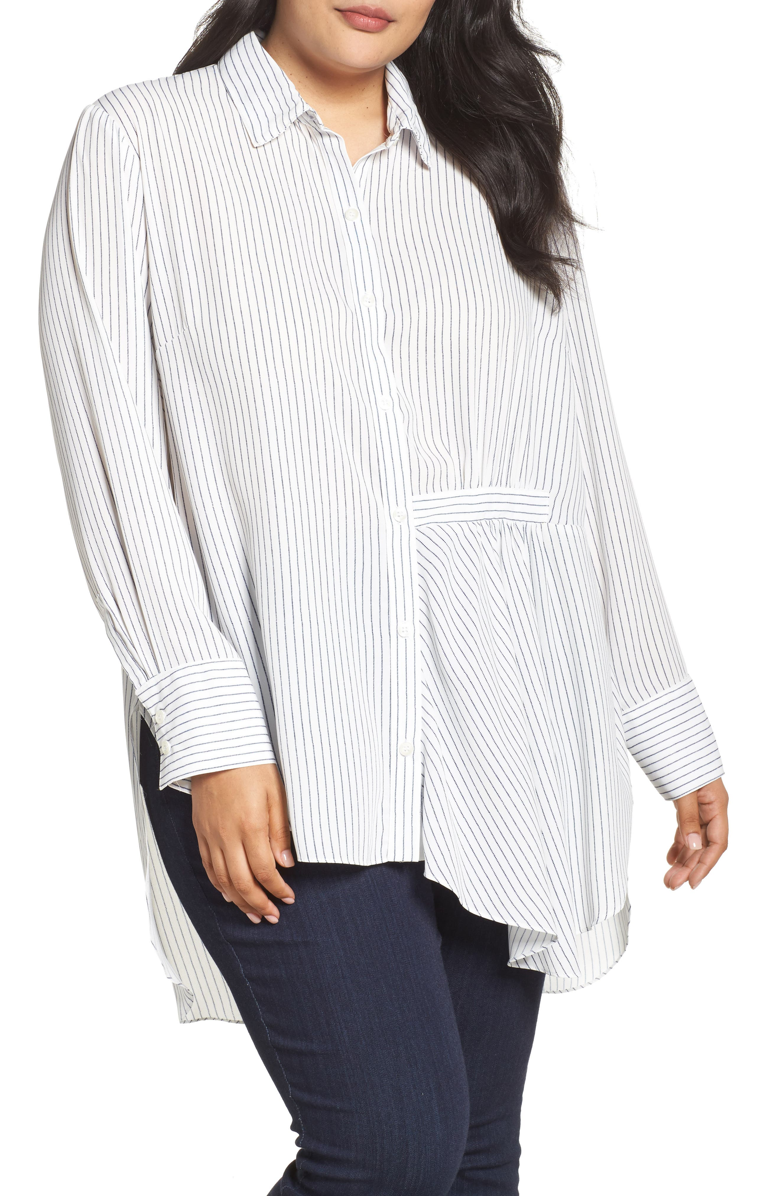 Main Image - RACHEL Rachel Roy High/Low Pinstripe Shirt (Plus Size)