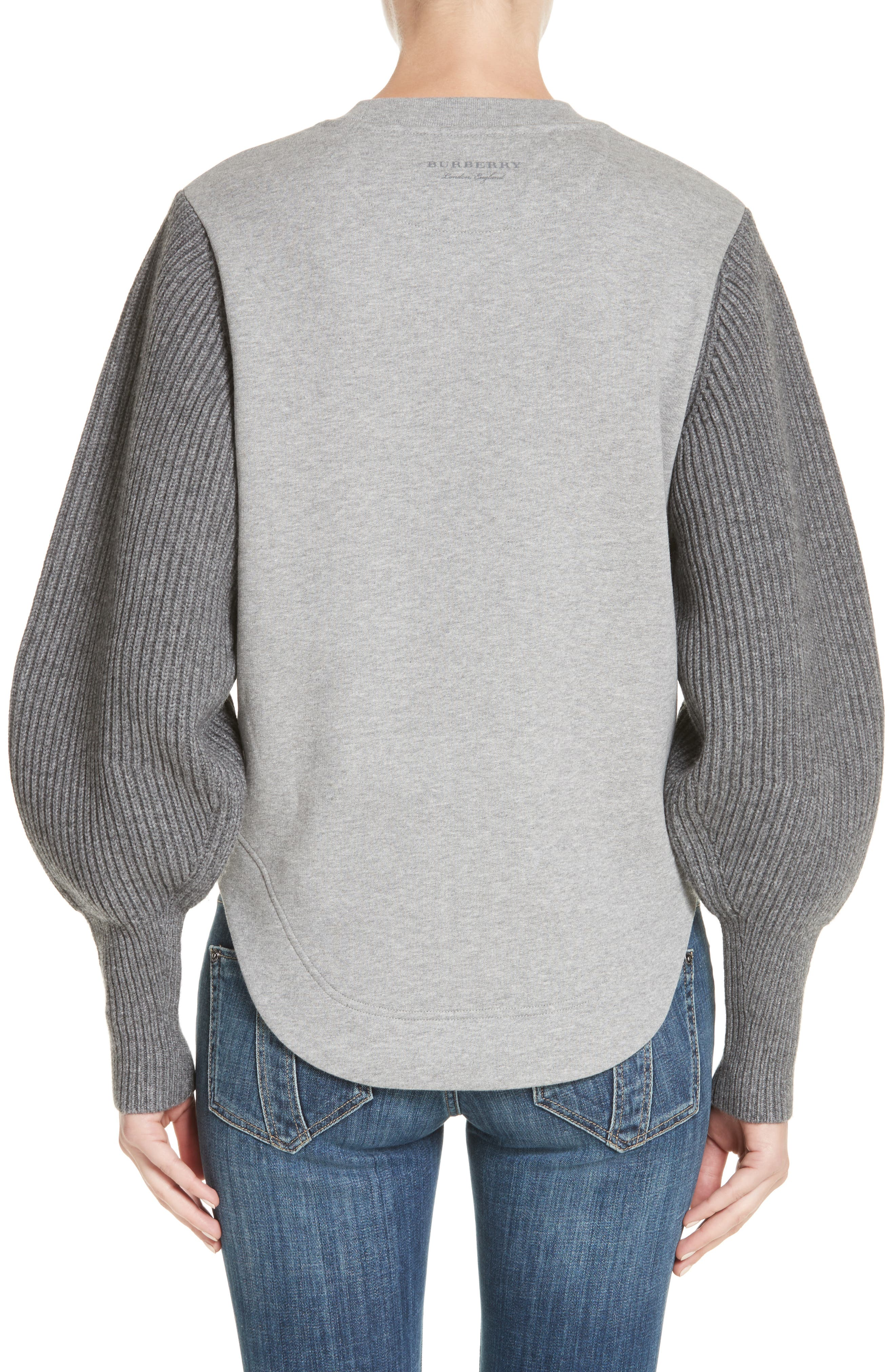 Alternate Image 2  - Burberry Alcobaca Rib Knit Sleeve Sweatshirt